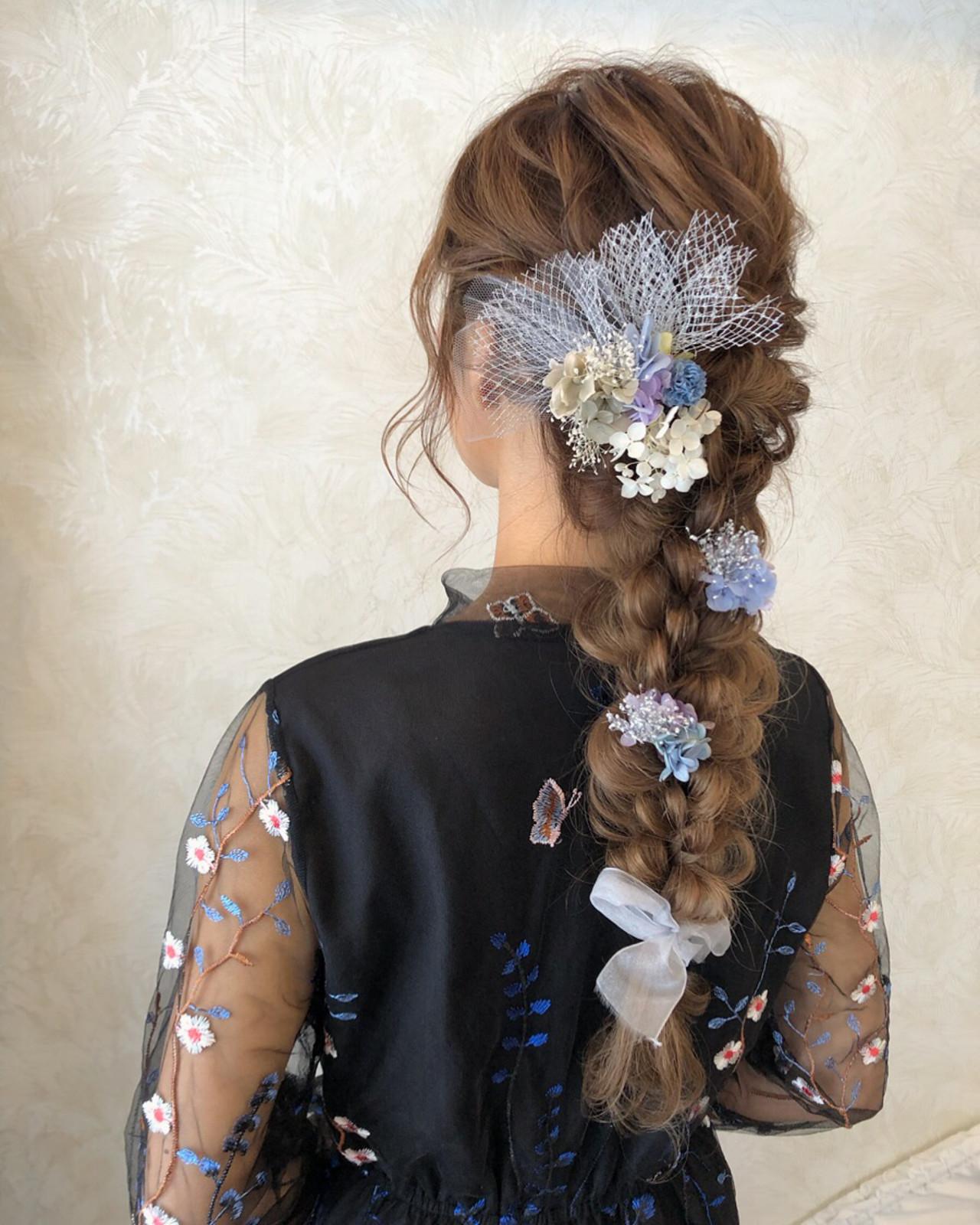 編みおろし 結婚式 ブライダル ロング ヘアスタイルや髪型の写真・画像