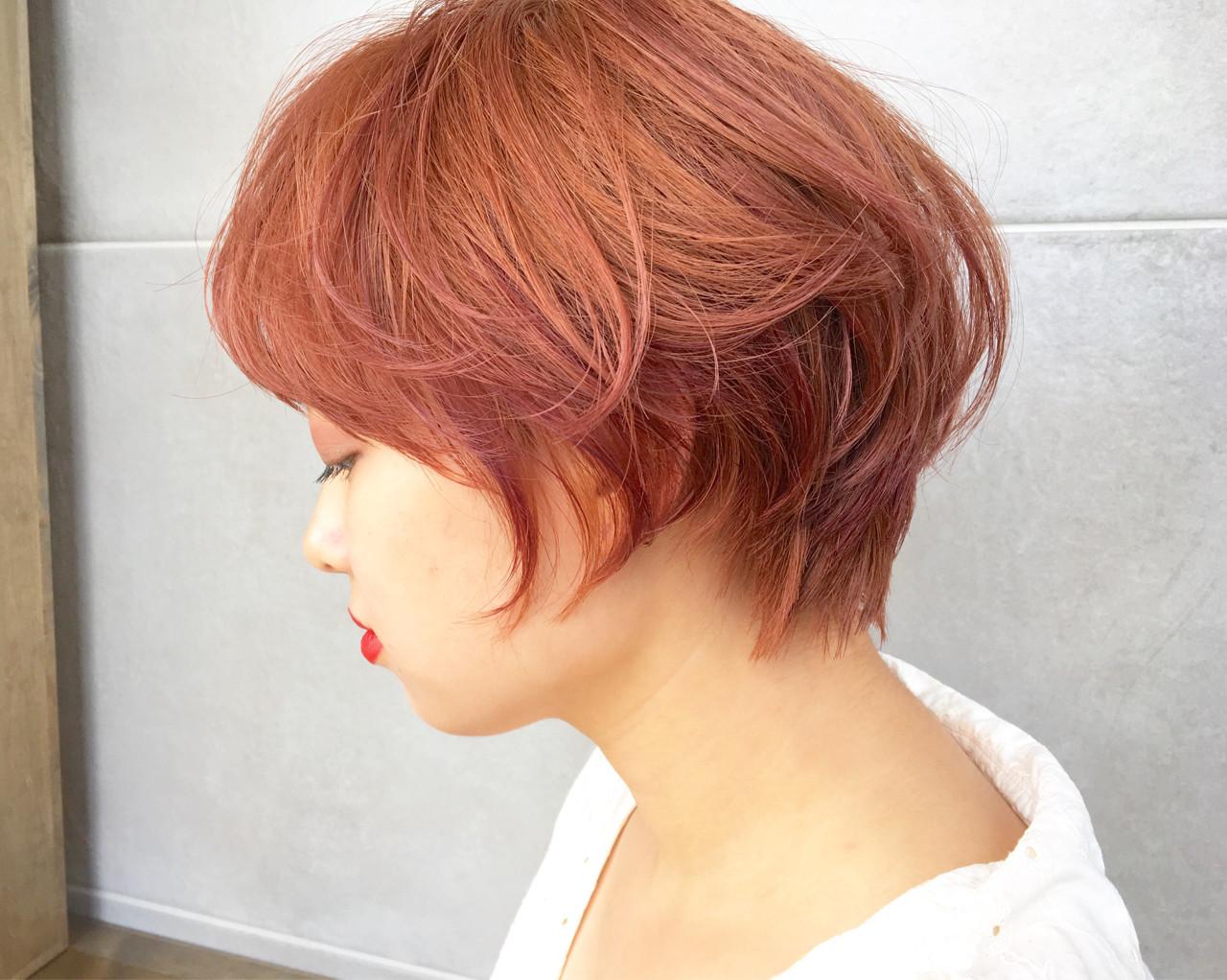 イルミナカラー ショート ハイトーン インナーカラー ヘアスタイルや髪型の写真・画像