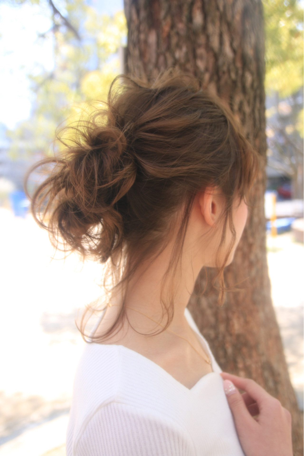 ショート お団子 デート ミディアム ヘアスタイルや髪型の写真・画像