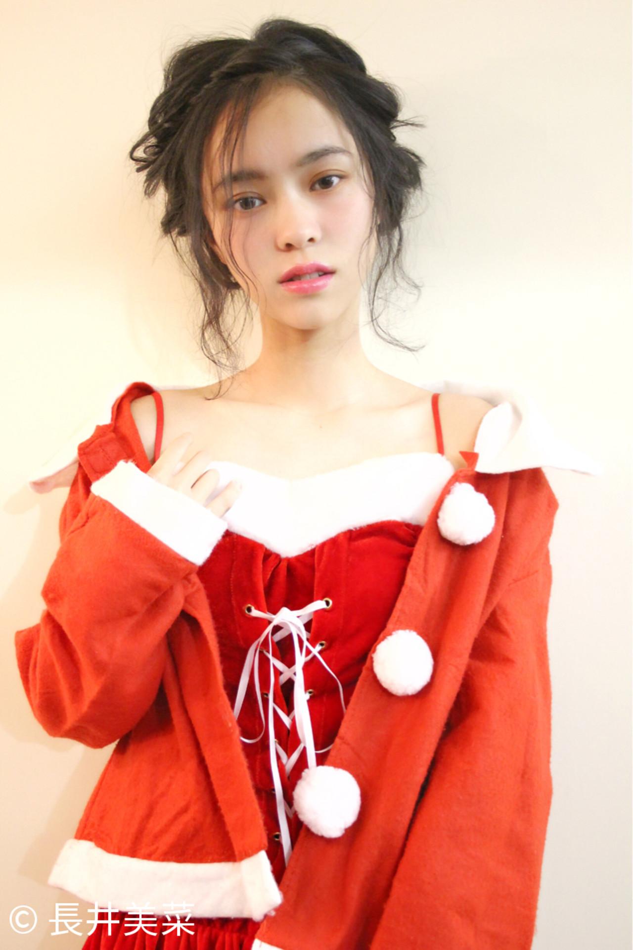 ヘアアレンジ 大人女子 小顔 ミディアム ヘアスタイルや髪型の写真・画像