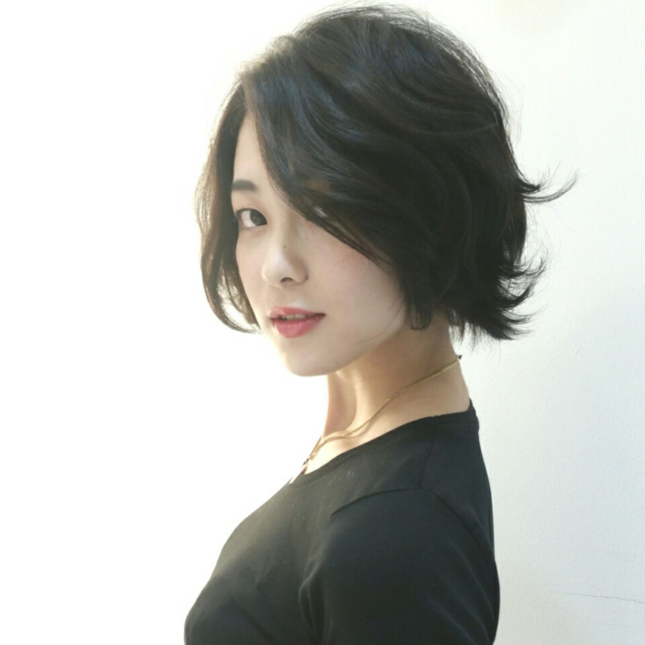 黒髪 外ハネ モード ショート ヘアスタイルや髪型の写真・画像   石田裕紀 / Baroque 立川 newtonグループ