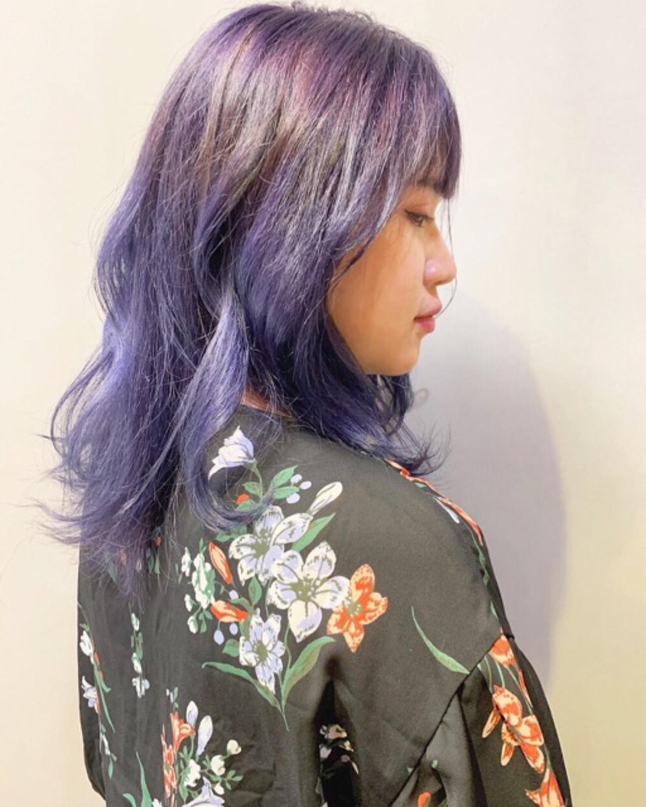 ラベンダー ラベンダーピンク ストリート ミディアム ヘアスタイルや髪型の写真・画像