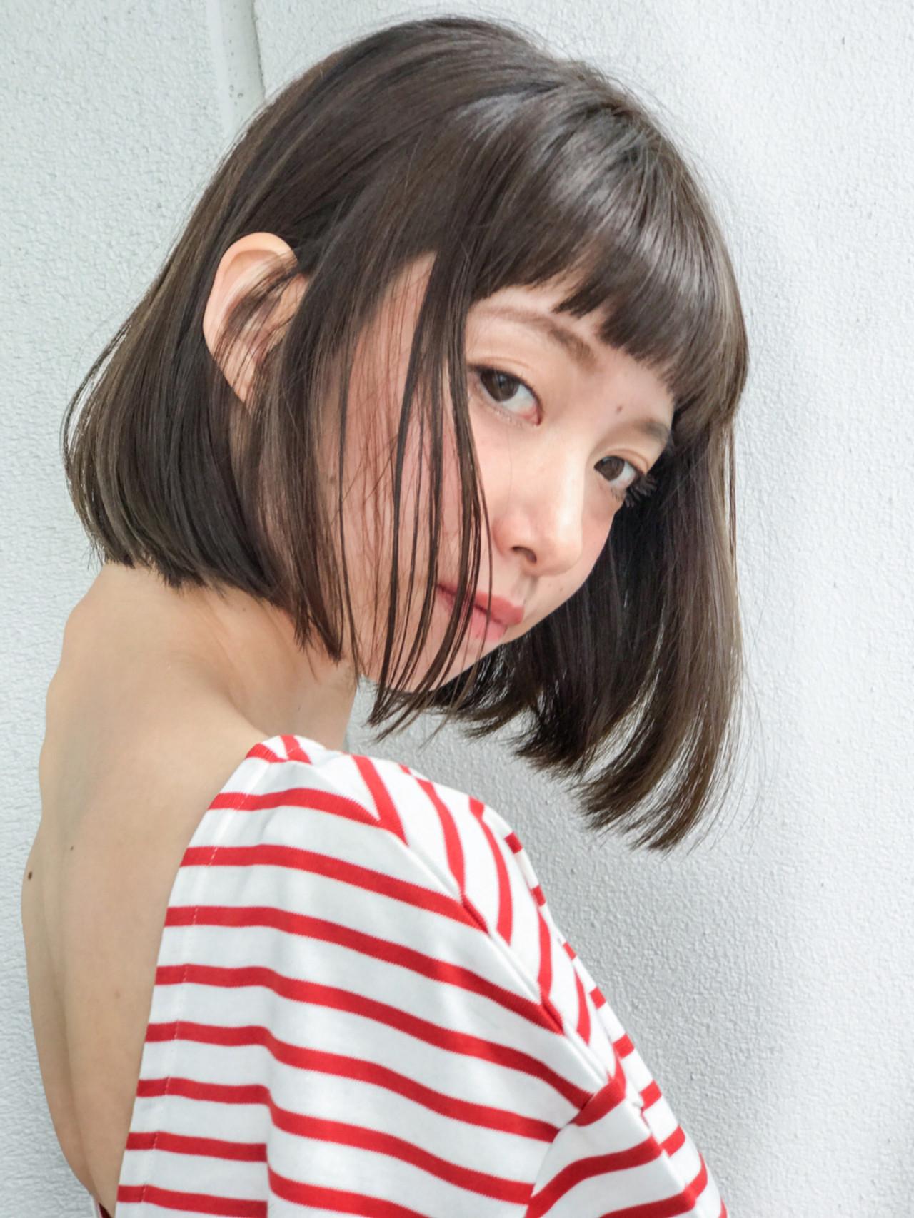 デート ボブ ナチュラル ショートバング ヘアスタイルや髪型の写真・画像 | lora.garden 細田真吾 / lora.garden