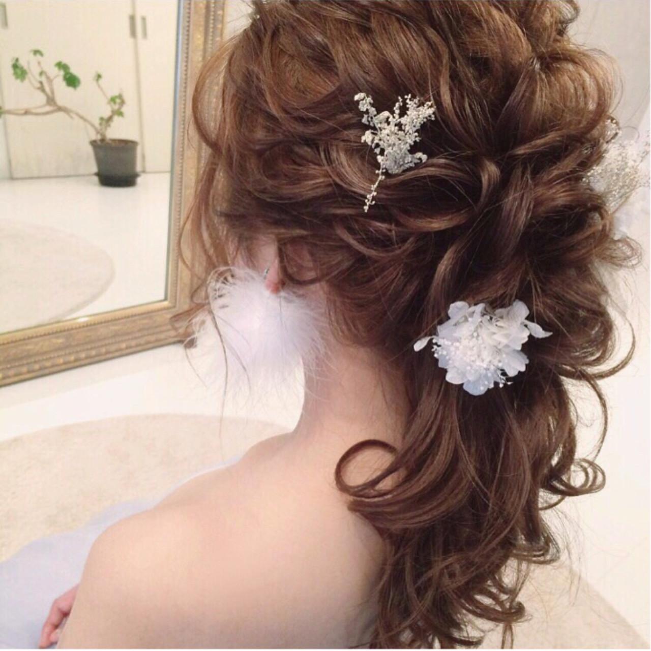 結婚式 ヘアアレンジ 大人かわいい ナチュラル ヘアスタイルや髪型の写真・画像 | tomoya tamada / Bridal hairmake