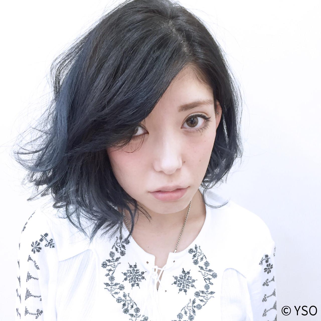 ボブ ブルー ストレート 暗髪 ヘアスタイルや髪型の写真・画像 | YSO / 電髪倶楽部street