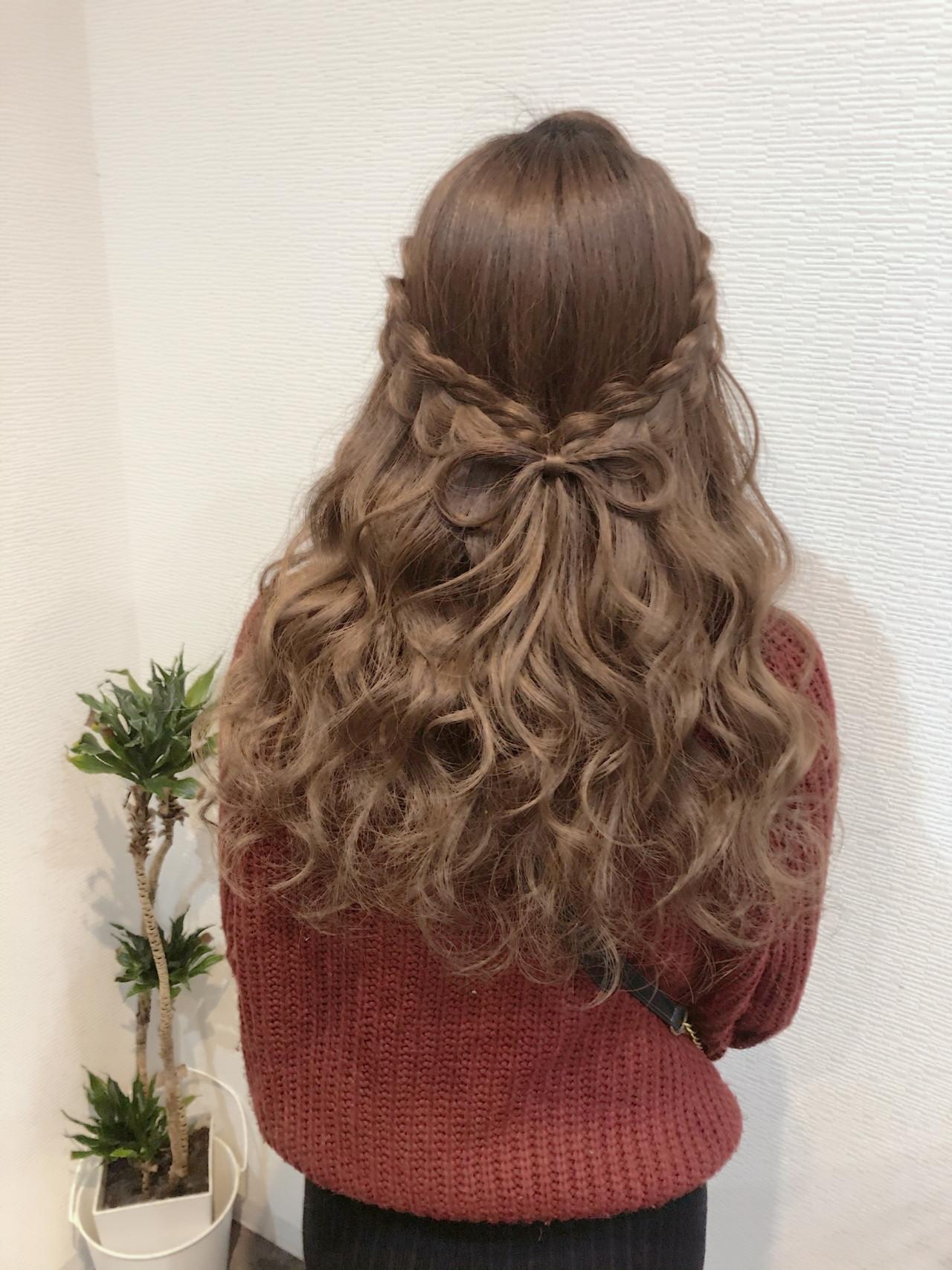 りぼん 編み込みヘア ハーフアップ 編み込み ヘアスタイルや髪型の写真・画像