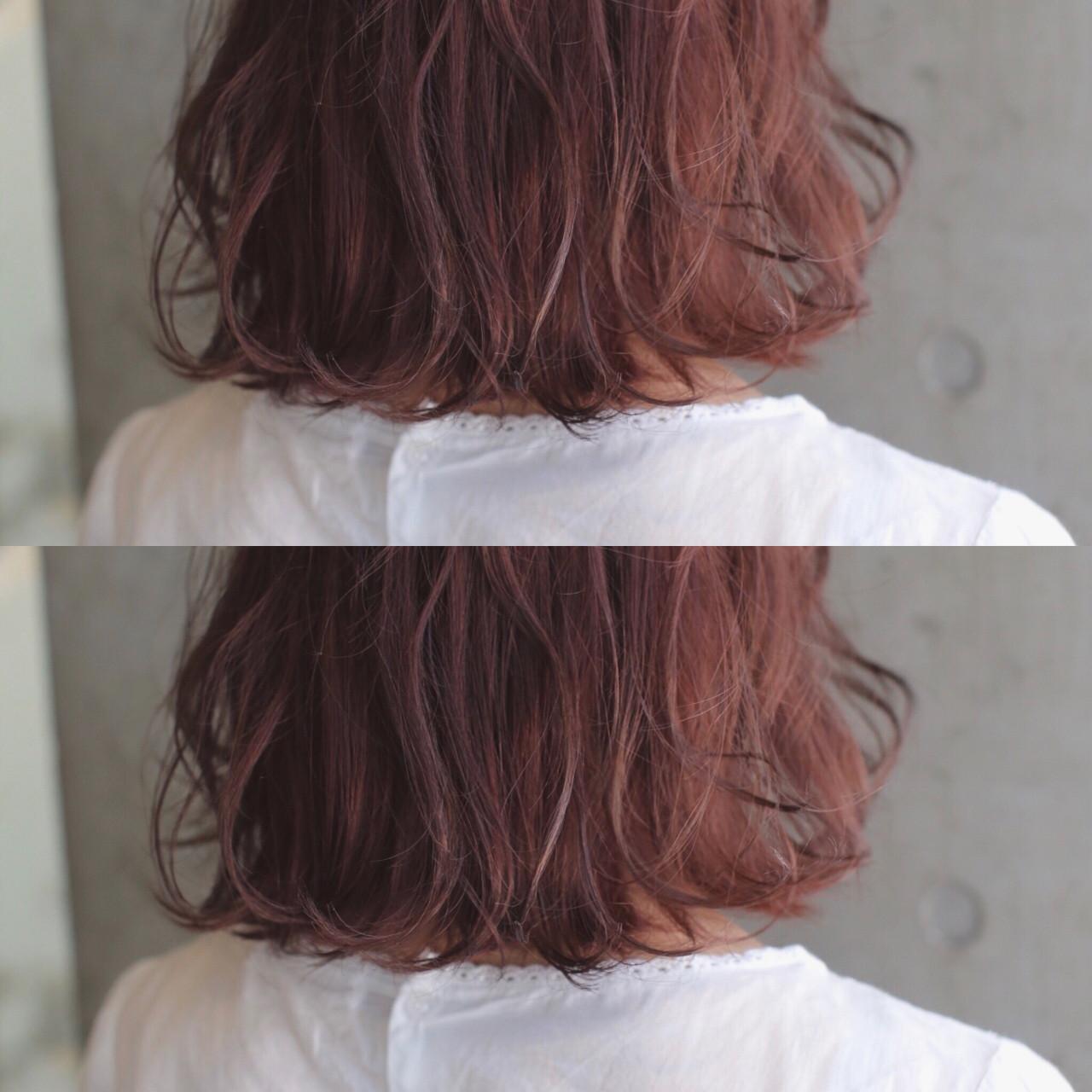 オレンジ ボブ アプリコットオレンジ オレンジベージュ ヘアスタイルや髪型の写真・画像