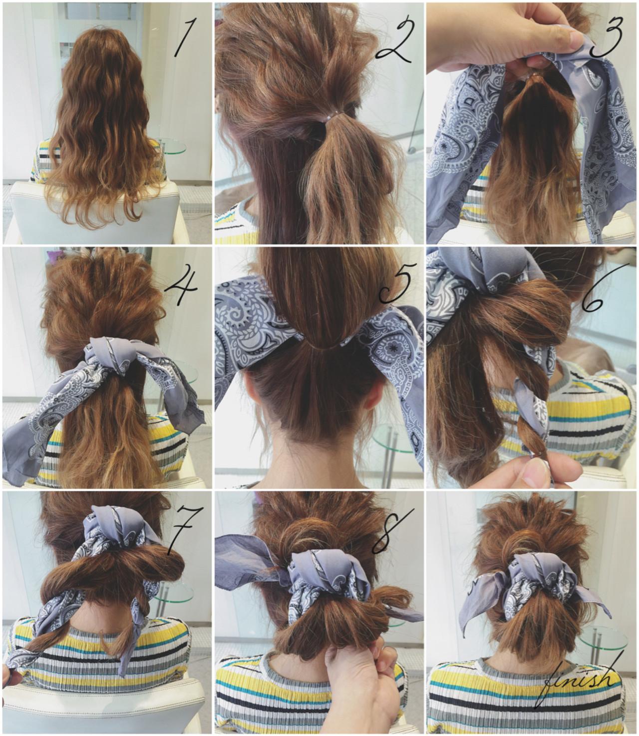 1.2.全体に巻いたら、顔周りの髪の毛をヘアゴムで束ねる。 3.バンダナを用意します。グレイのバンダナ可愛い。 4.バンダナをヘアゴムのところに結ぶ。 5.襟足の髪の毛をヘアゴムで束ねる。 6.7.髪の毛とバンダナをツイスト。2つの束をつくる。 8.出来たツイストを根元に絡めてピンで固定。 finish.バランスよくバンダナの先を整えたら完成。