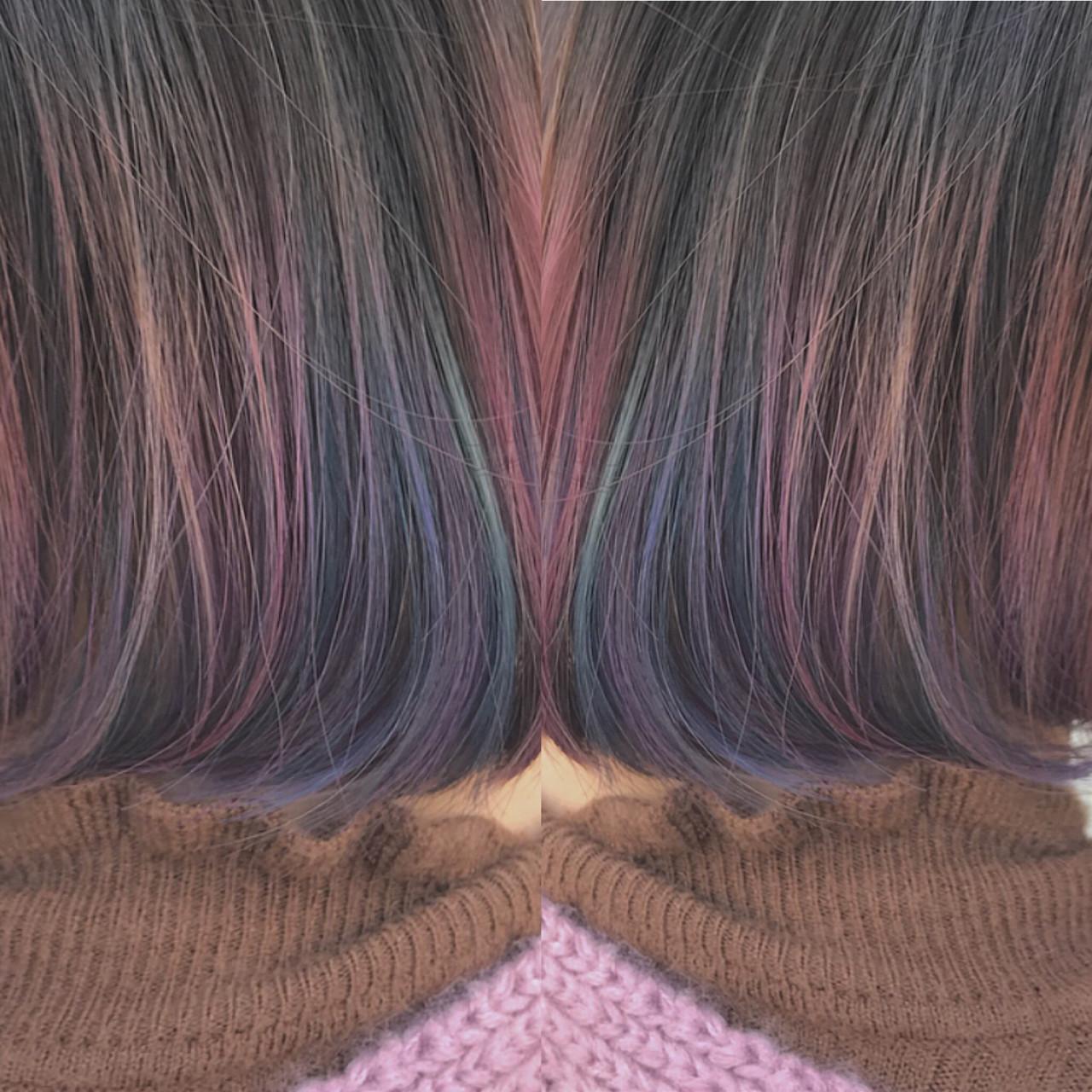 ボブ インナーカラー 外国人風カラー ナチュラル ヘアスタイルや髪型の写真・画像