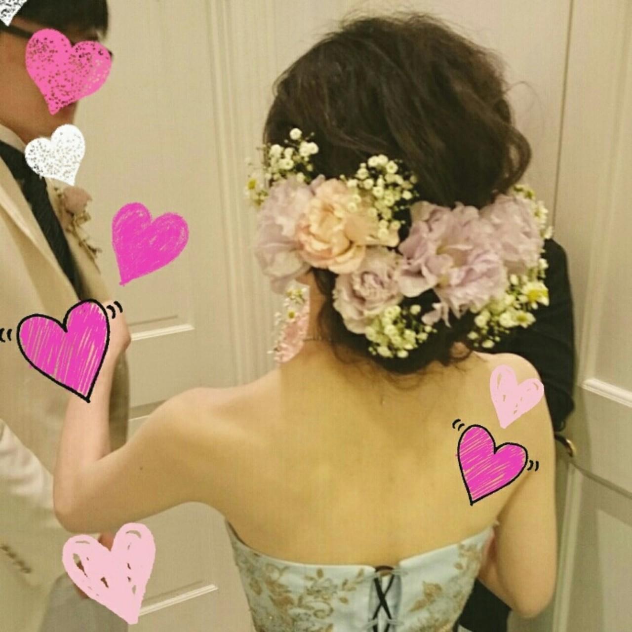 ブライダル ヘアアレンジ 結婚式 二次会 ヘアスタイルや髪型の写真・画像