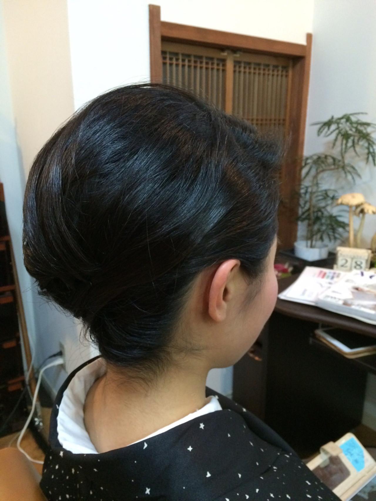 黒髪 まとめ髪 着物 ボブ ヘアスタイルや髪型の写真・画像