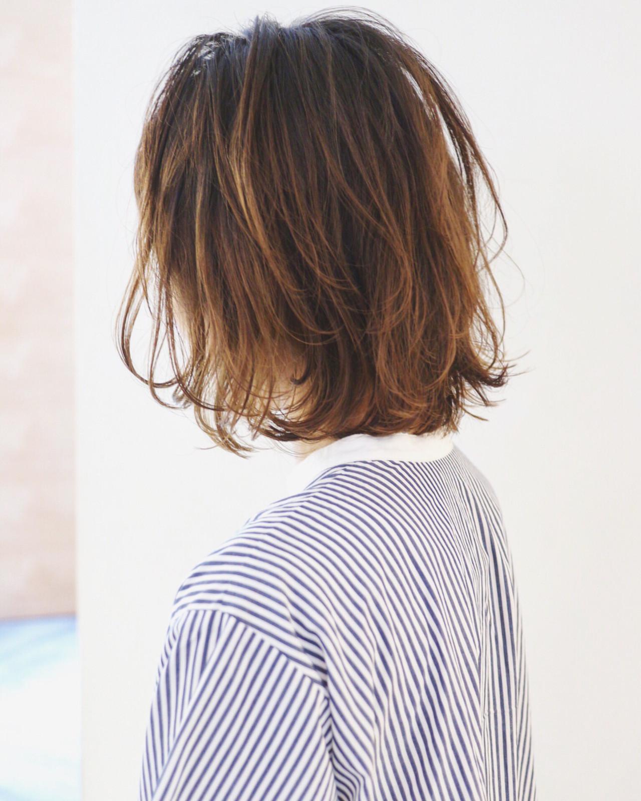バレイヤージュ グラデーションカラー ハイライト パーマ ヘアスタイルや髪型の写真・画像 | 三好 佳奈美 / Baco.(バコ)
