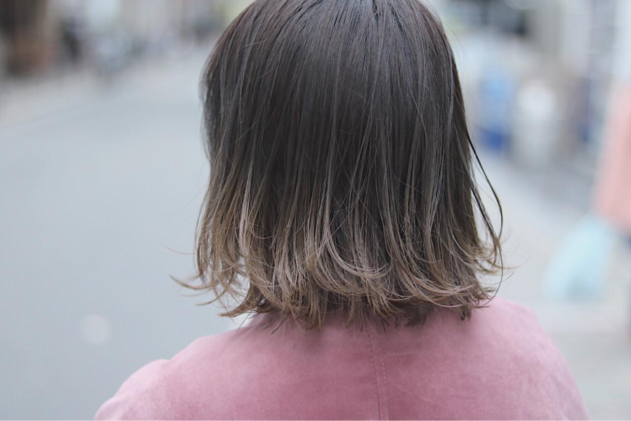 グラデーションカラー オルチャン デート 切りっぱなし ヘアスタイルや髪型の写真・画像
