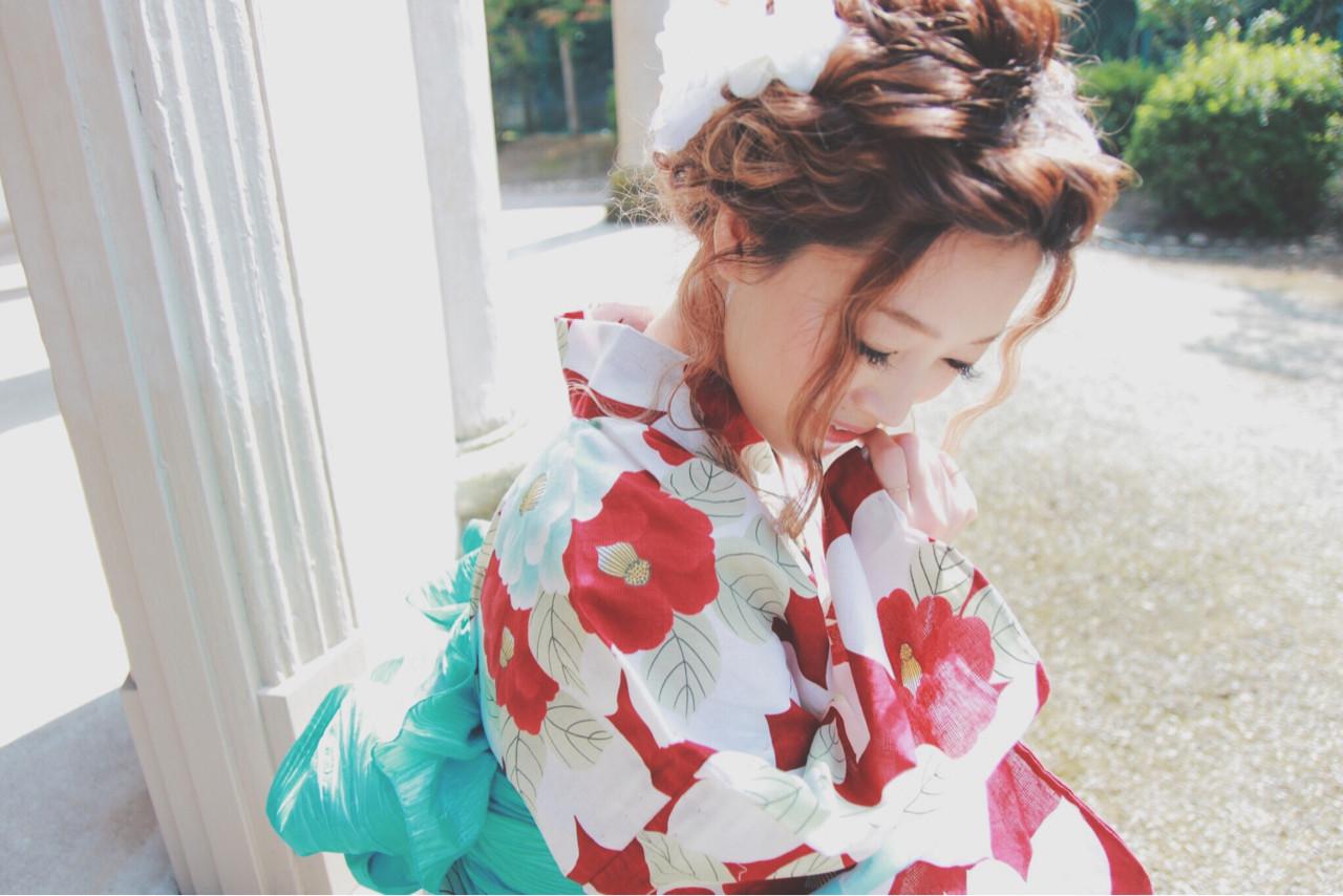 ミディアム お祭り 和装 ハイライト ヘアスタイルや髪型の写真・画像 | kana /