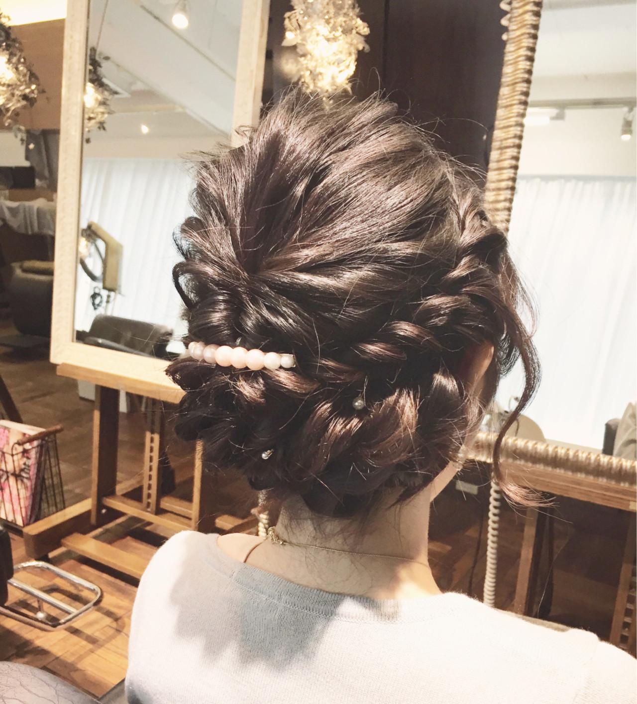 ゆるふわ 暗髪 セミロング 簡単ヘアアレンジ ヘアスタイルや髪型の写真・画像