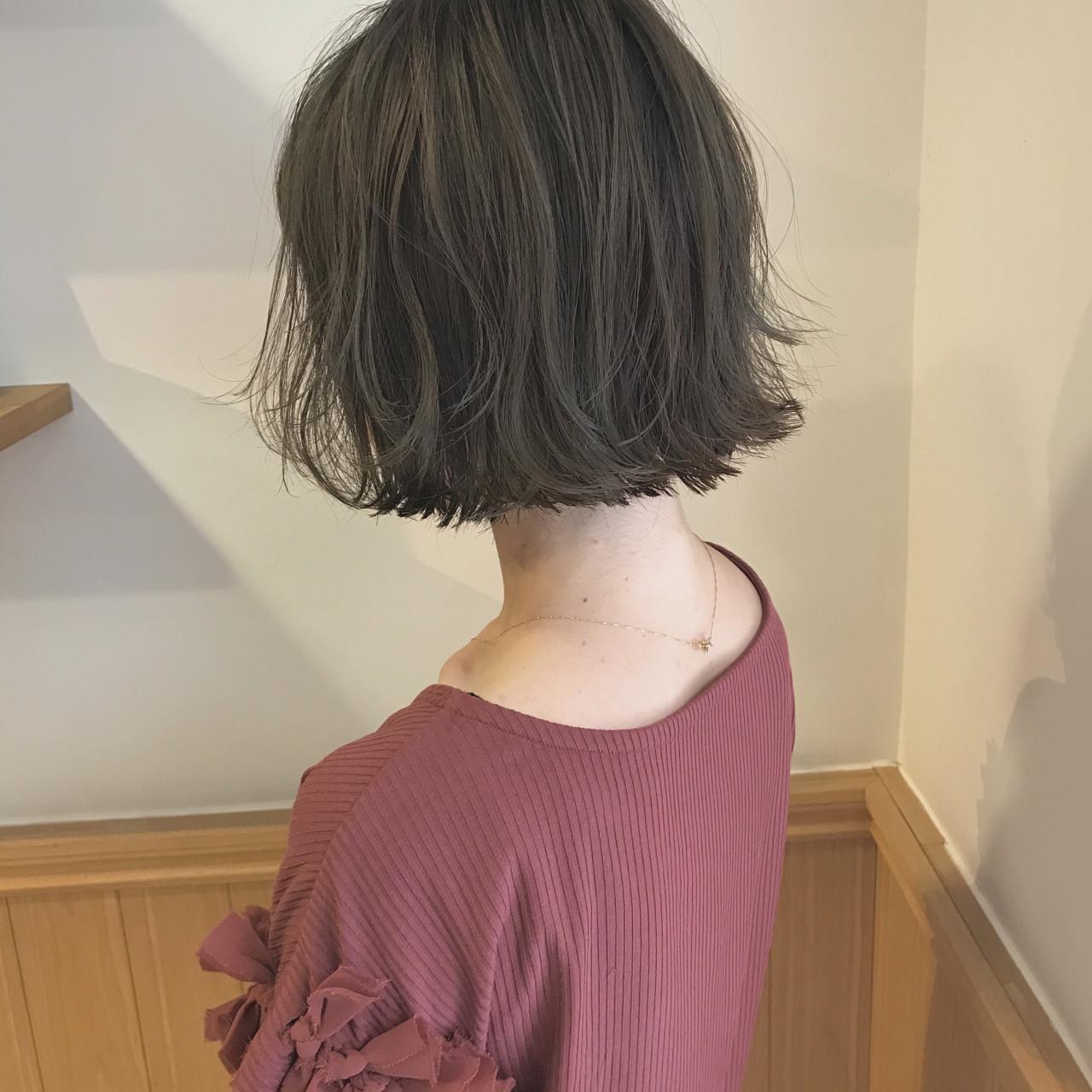 透明感 ロブ 秋 切りっぱなし ヘアスタイルや髪型の写真・画像