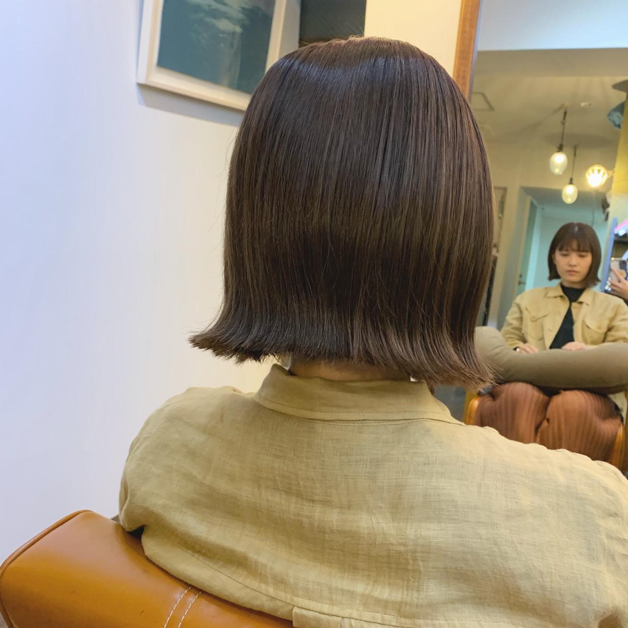 外国人風カラー 透明感カラー ナチュラル ボブ ヘアスタイルや髪型の写真・画像