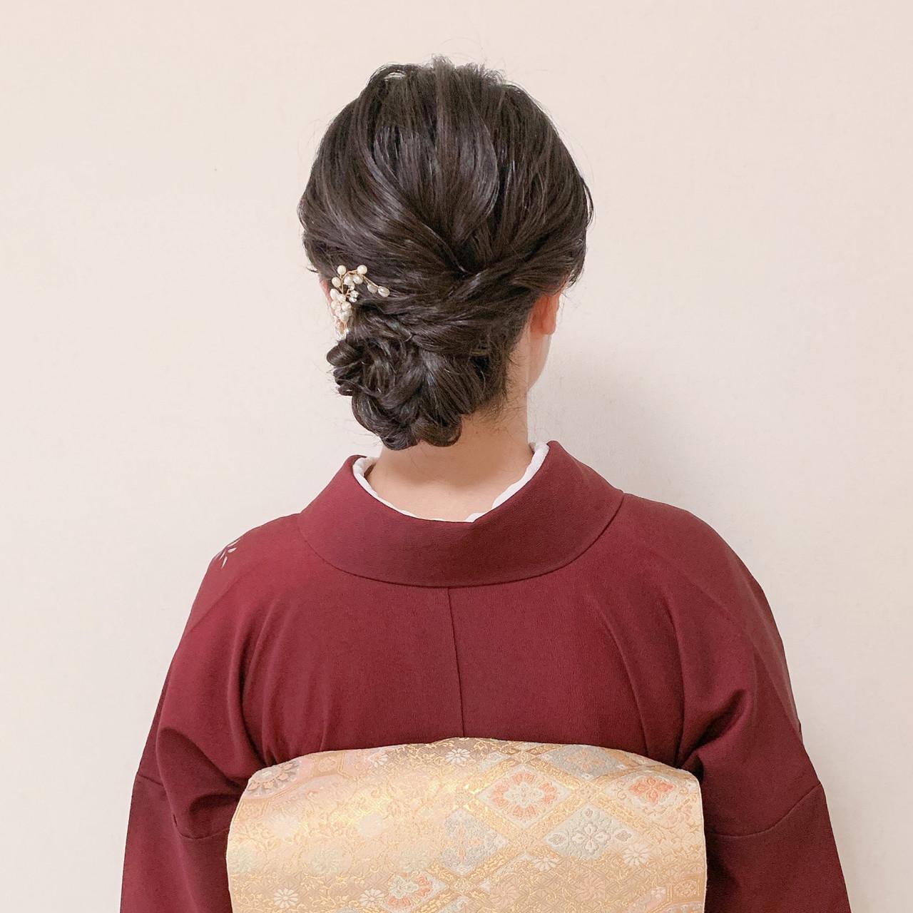 結婚式ヘアアレンジ パーティー エレガント お呼ばれ ヘアスタイルや髪型の写真・画像