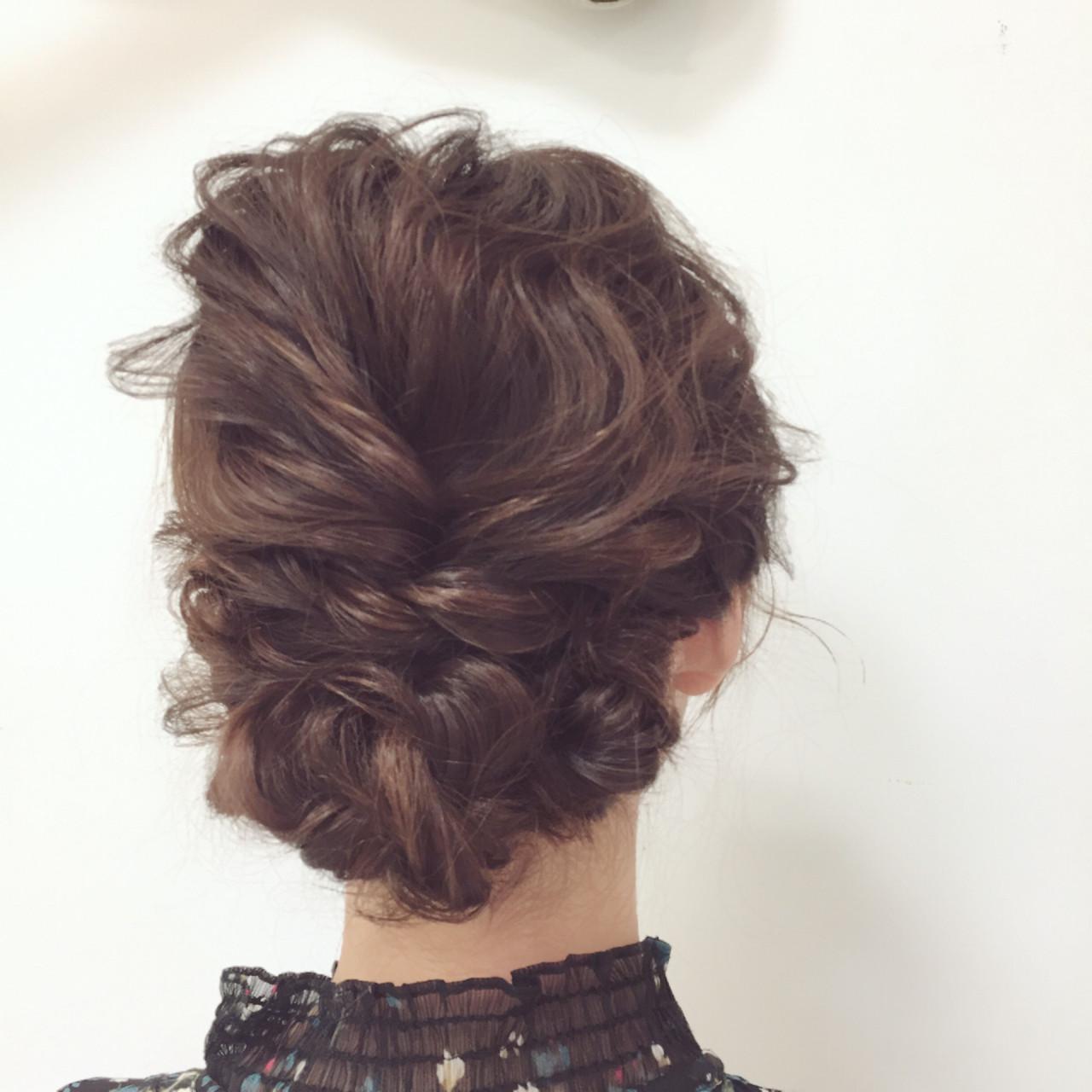 セミロング 結婚式 ヘアアレンジ ゆるふわ ヘアスタイルや髪型の写真・画像