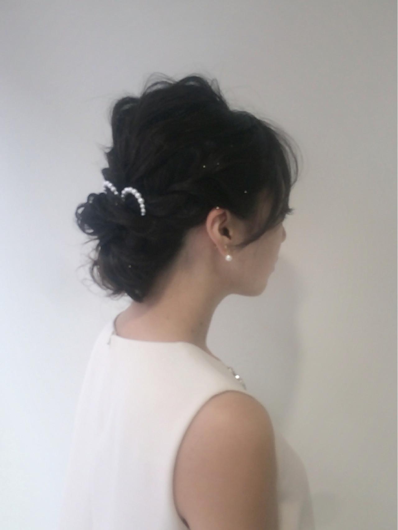 セミロング フェミニン 大人かわいい 簡単ヘアアレンジ ヘアスタイルや髪型の写真・画像