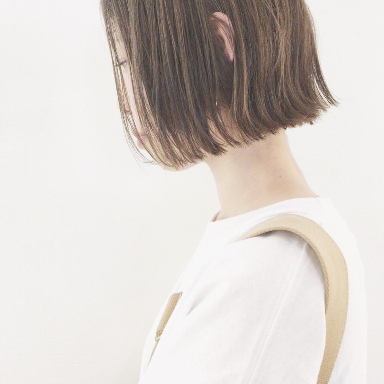 オフィス 切りっぱなし ボブ アウトドア ヘアスタイルや髪型の写真・画像   津村正和/大阪心斎橋 / freelance