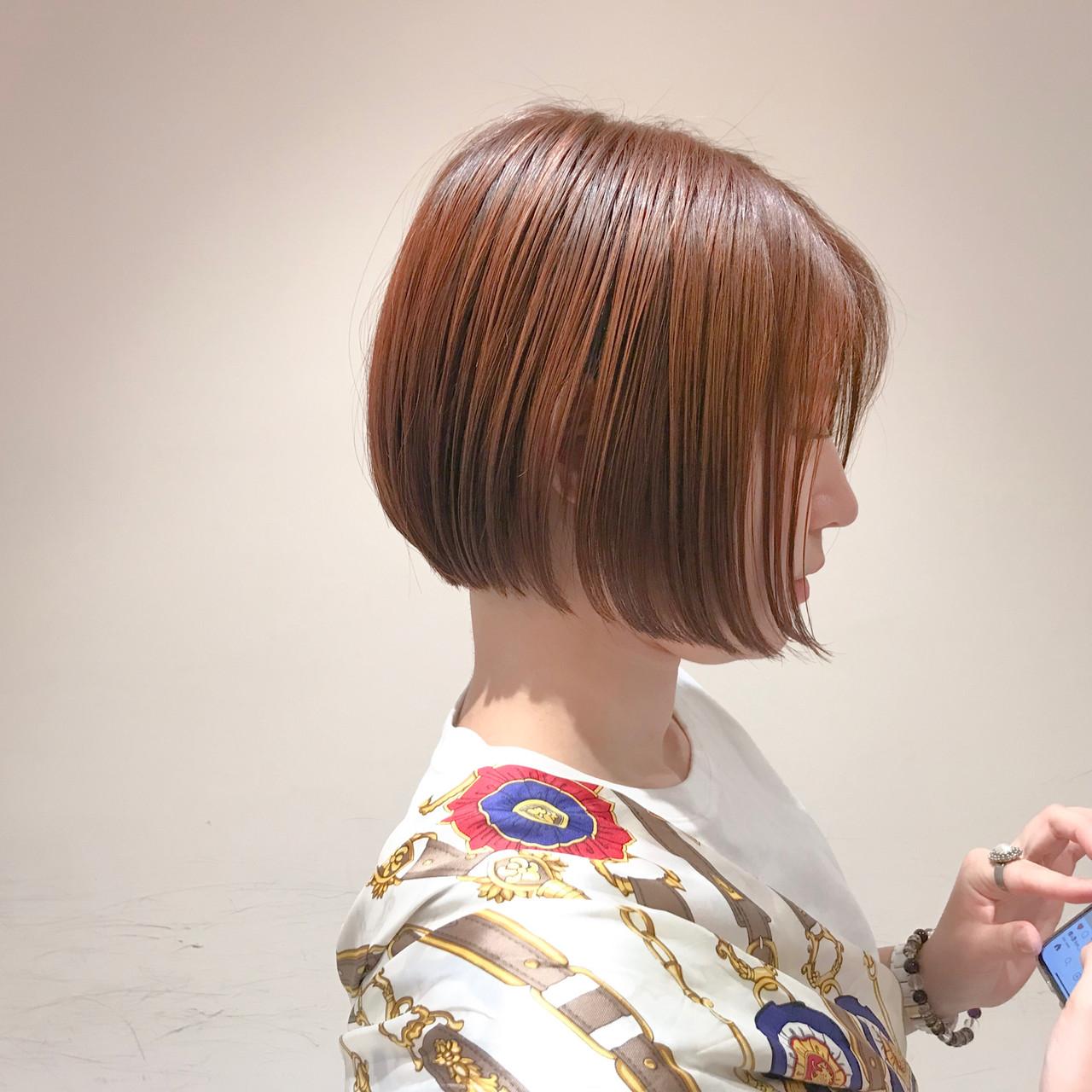 ナチュラル 透明感カラー オレンジカラー ボブ ヘアスタイルや髪型の写真・画像