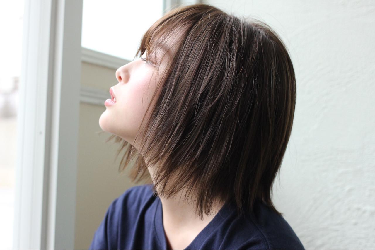 ウェットヘア ナチュラル ボブ 切りっぱなし ヘアスタイルや髪型の写真・画像 | 富永大樹【小顔ショート】【小顔ミディアム】 / Unami