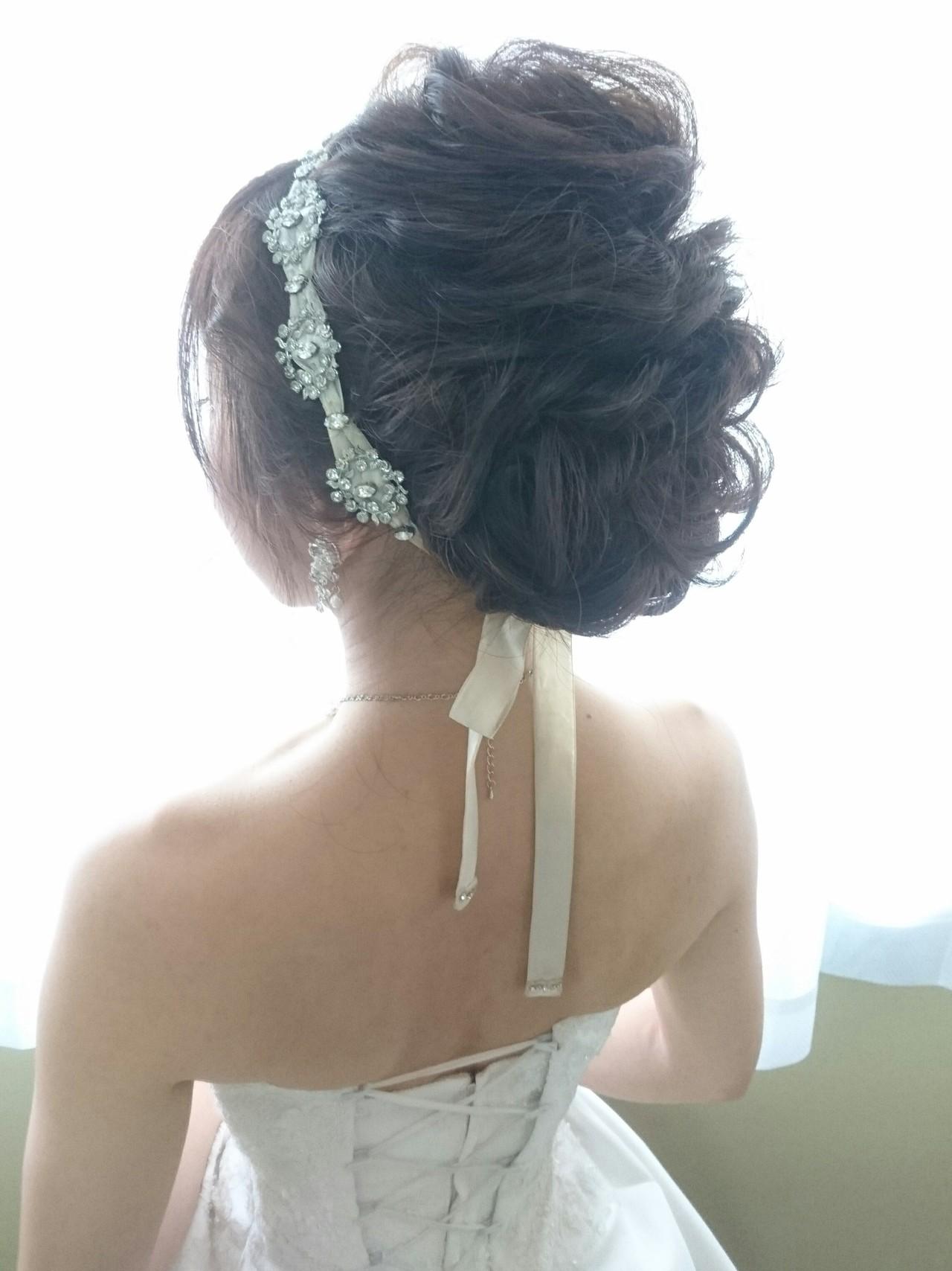 外国人風 上品 セミロング 結婚式 ヘアスタイルや髪型の写真・画像   島田 和也 / hair&spa feliceMICHI