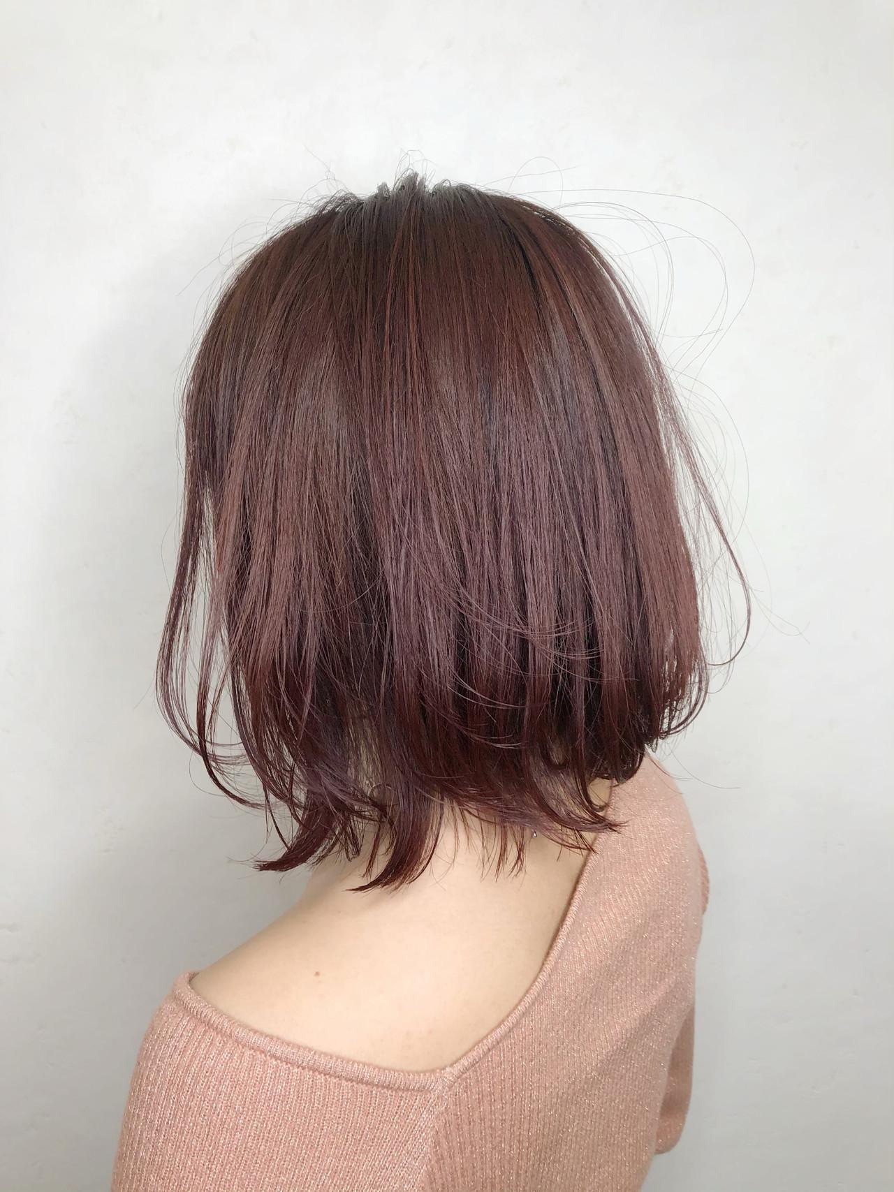 ピンクパープル ラズベリーピンク フェミニン ピンクベージュ ヘアスタイルや髪型の写真・画像