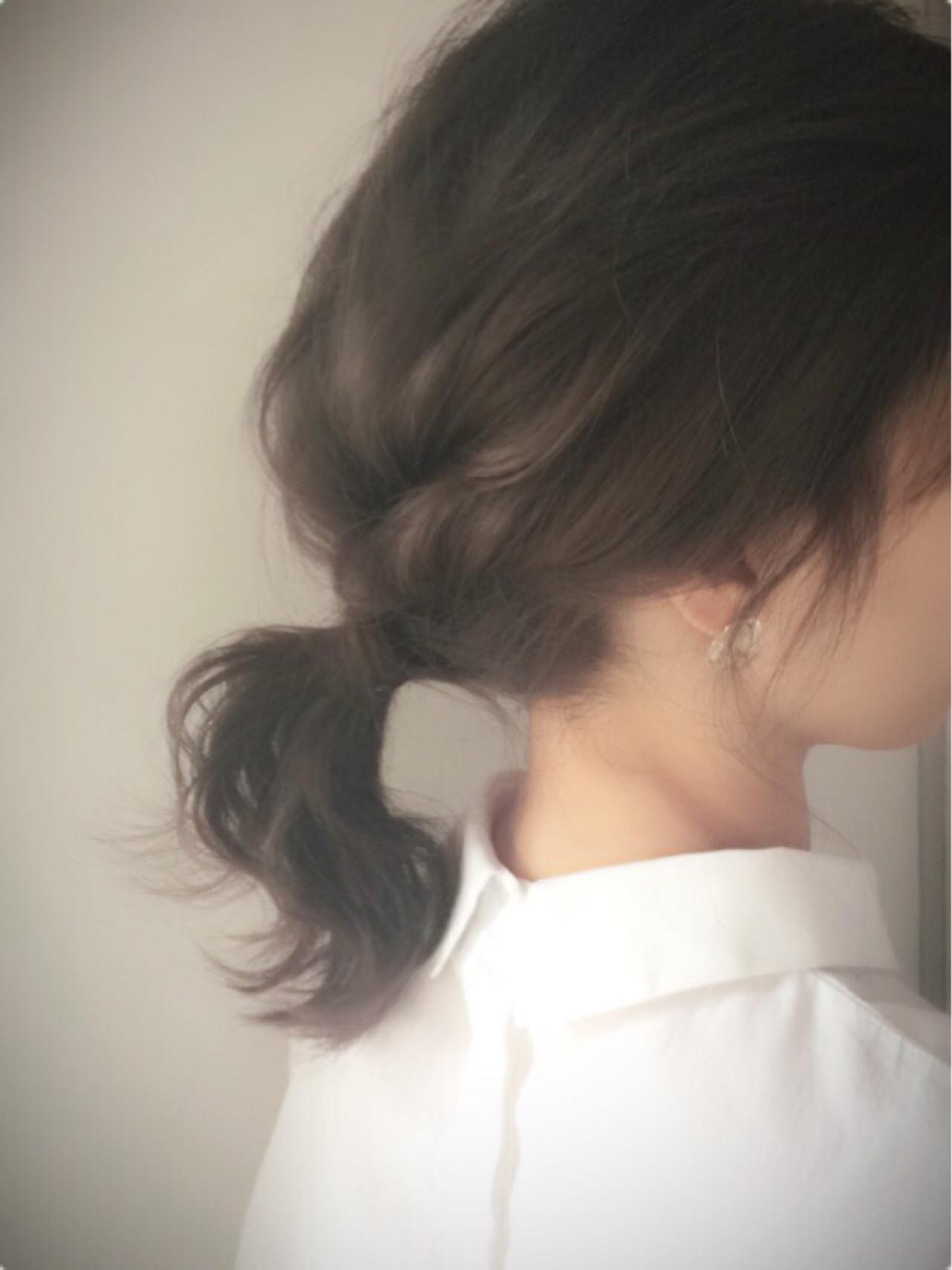 ミディアム ローポニーテール ヘアアレンジ ゆるふわ ヘアスタイルや髪型の写真・画像