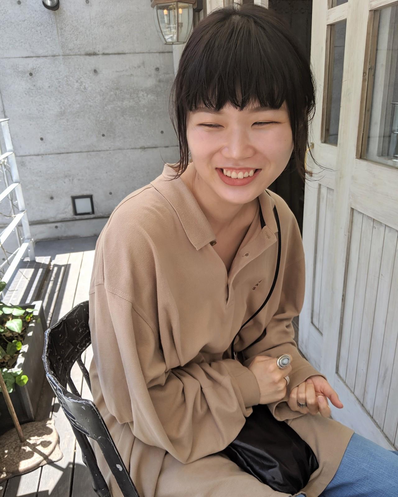 アウトドア ナチュラル ヘアアレンジ オン眉 ヘアスタイルや髪型の写真・画像 | HIFUMI / möwen