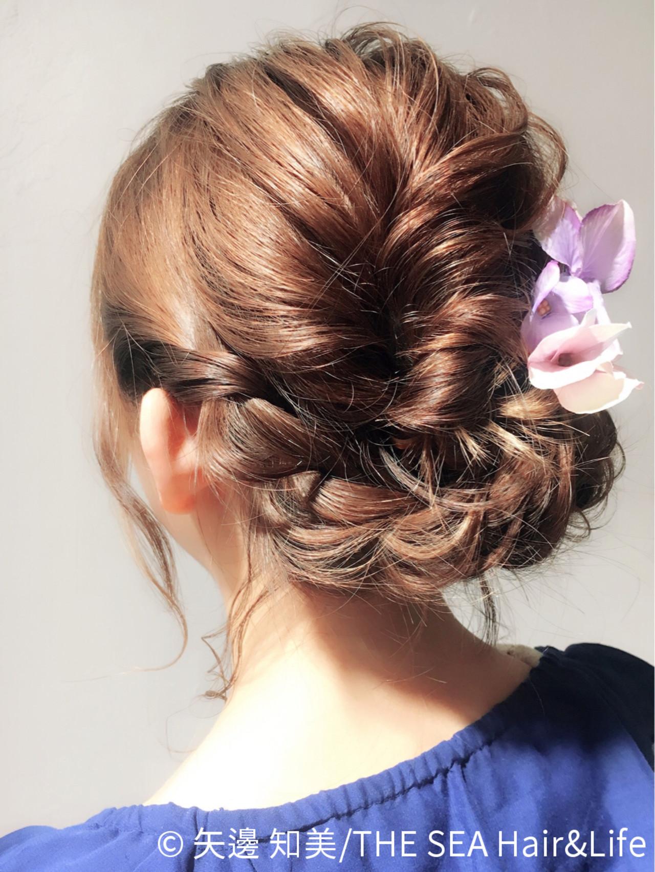 ヘアアレンジ 結婚式 ゆるふわ ボブ ヘアスタイルや髪型の写真・画像
