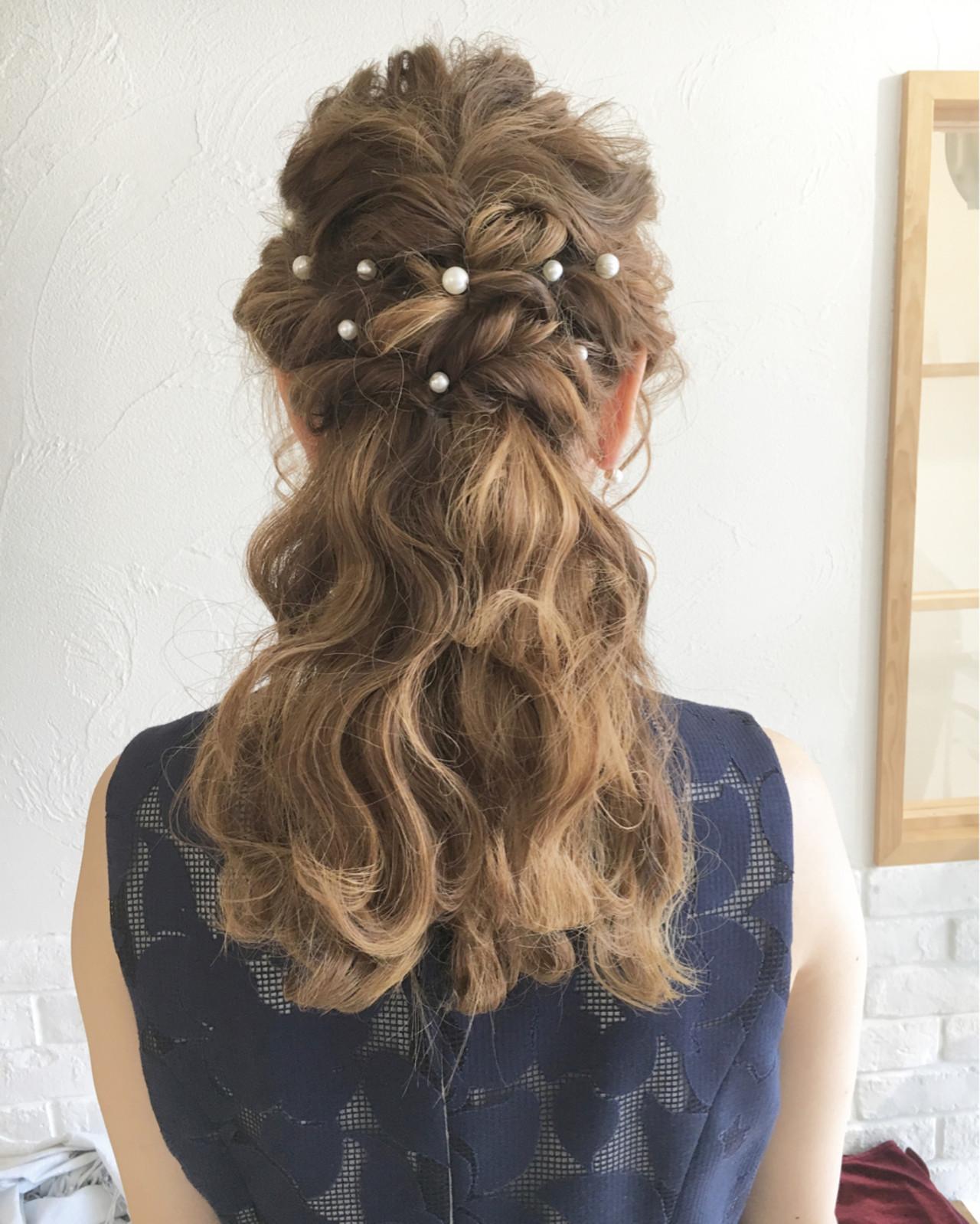 ヘアアレンジ 外国人風 セミロング 結婚式 ヘアスタイルや髪型の写真・画像