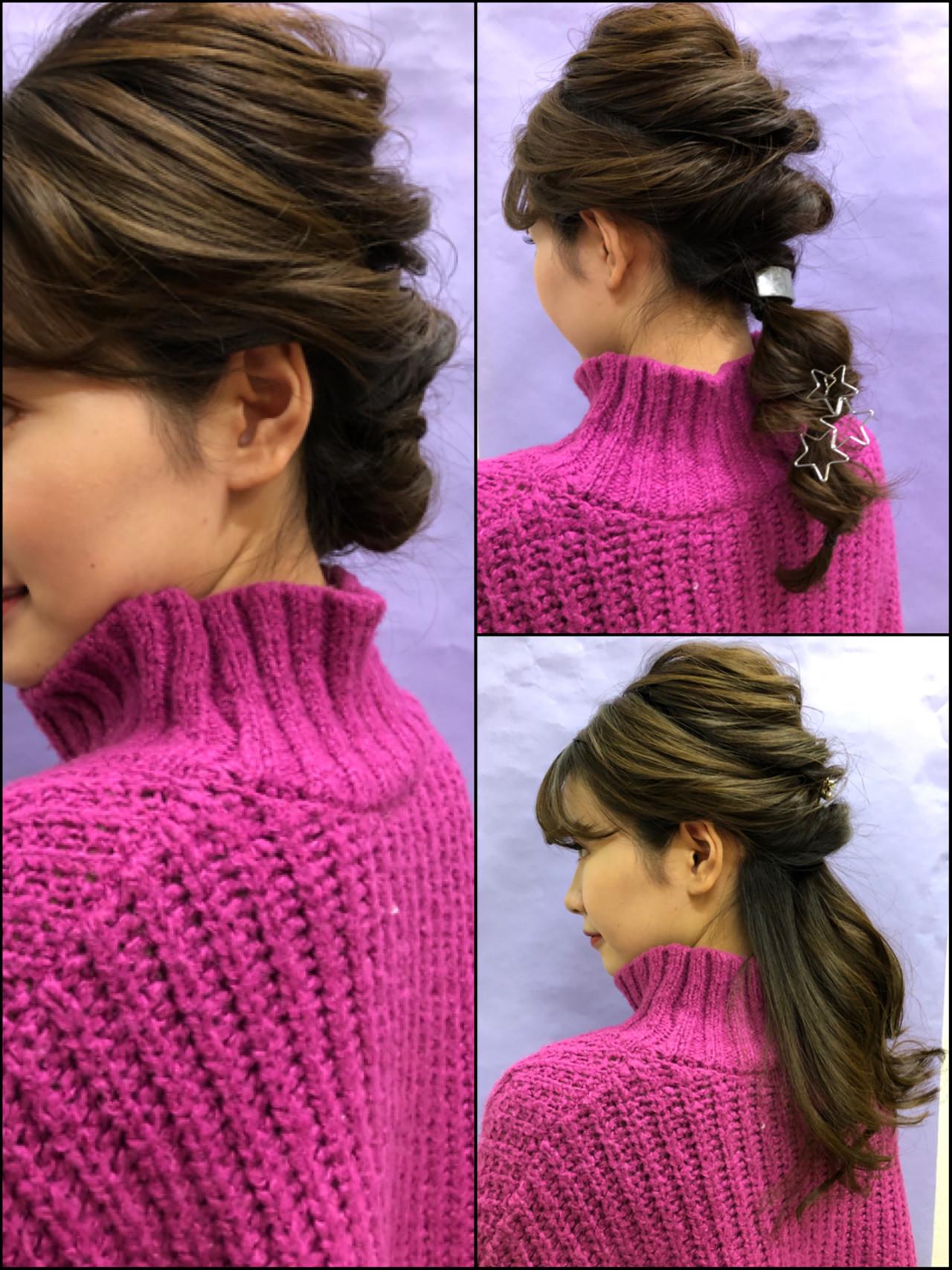 セミロング 結婚式ヘアアレンジ ナチュラル 編みおろしヘア ヘアスタイルや髪型の写真・画像