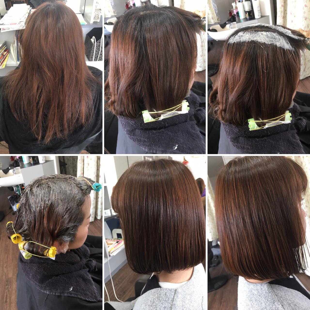 フェミニン ボブ デジタルパーマ 縮毛矯正ストカール ヘアスタイルや髪型の写真・画像