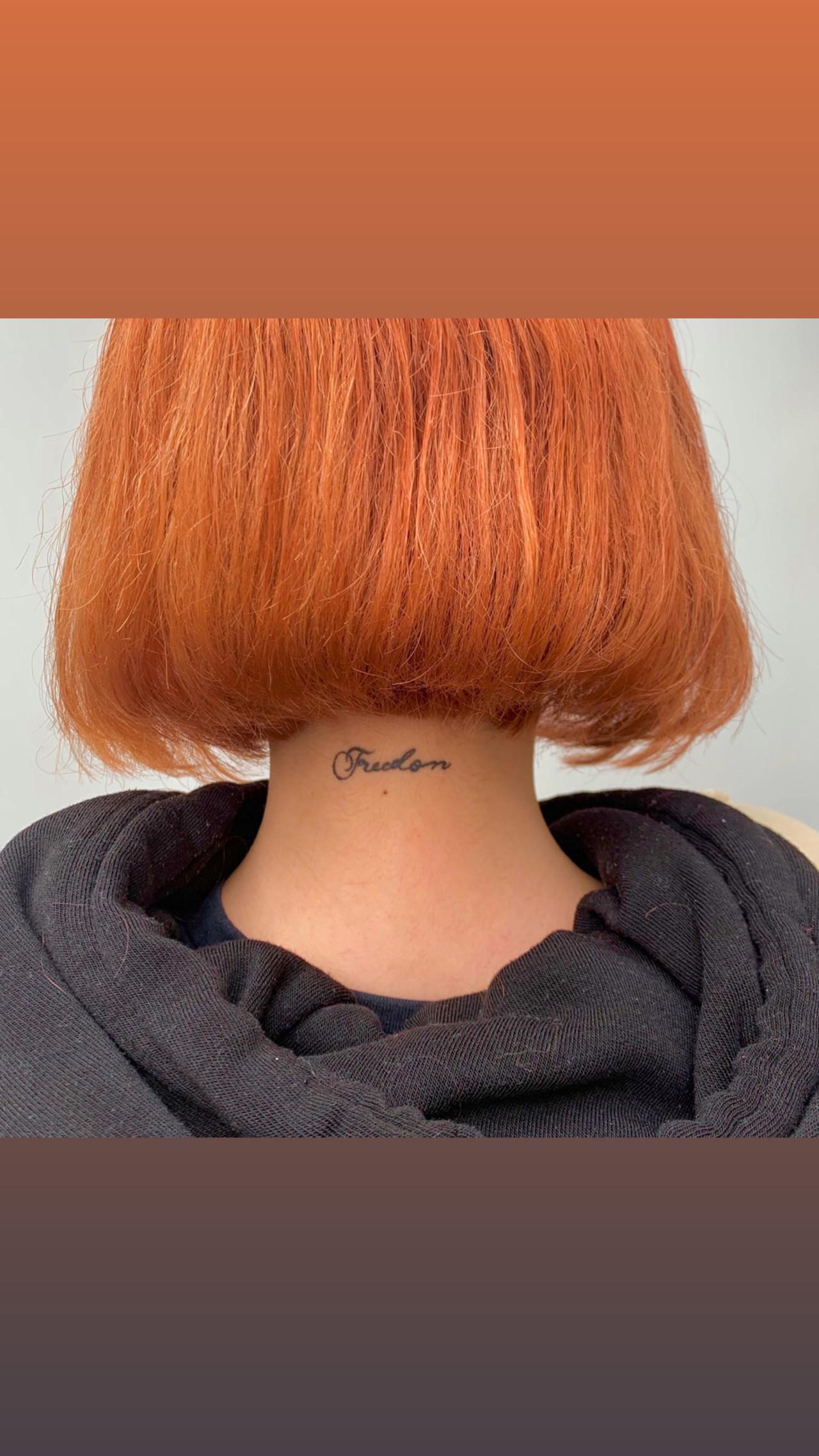 アプリコットオレンジ オレンジカラー モテボブ ボブ ヘアスタイルや髪型の写真・画像