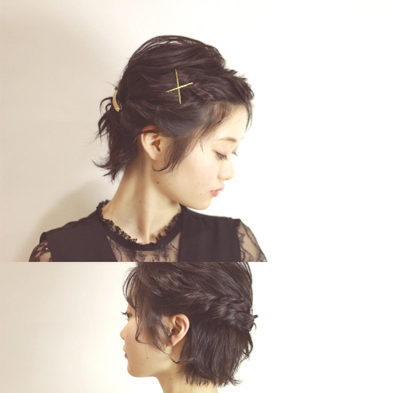 ショート 編み込み 結婚式 簡単ヘアアレンジ ヘアスタイルや髪型の写真・画像 | ゆかり /