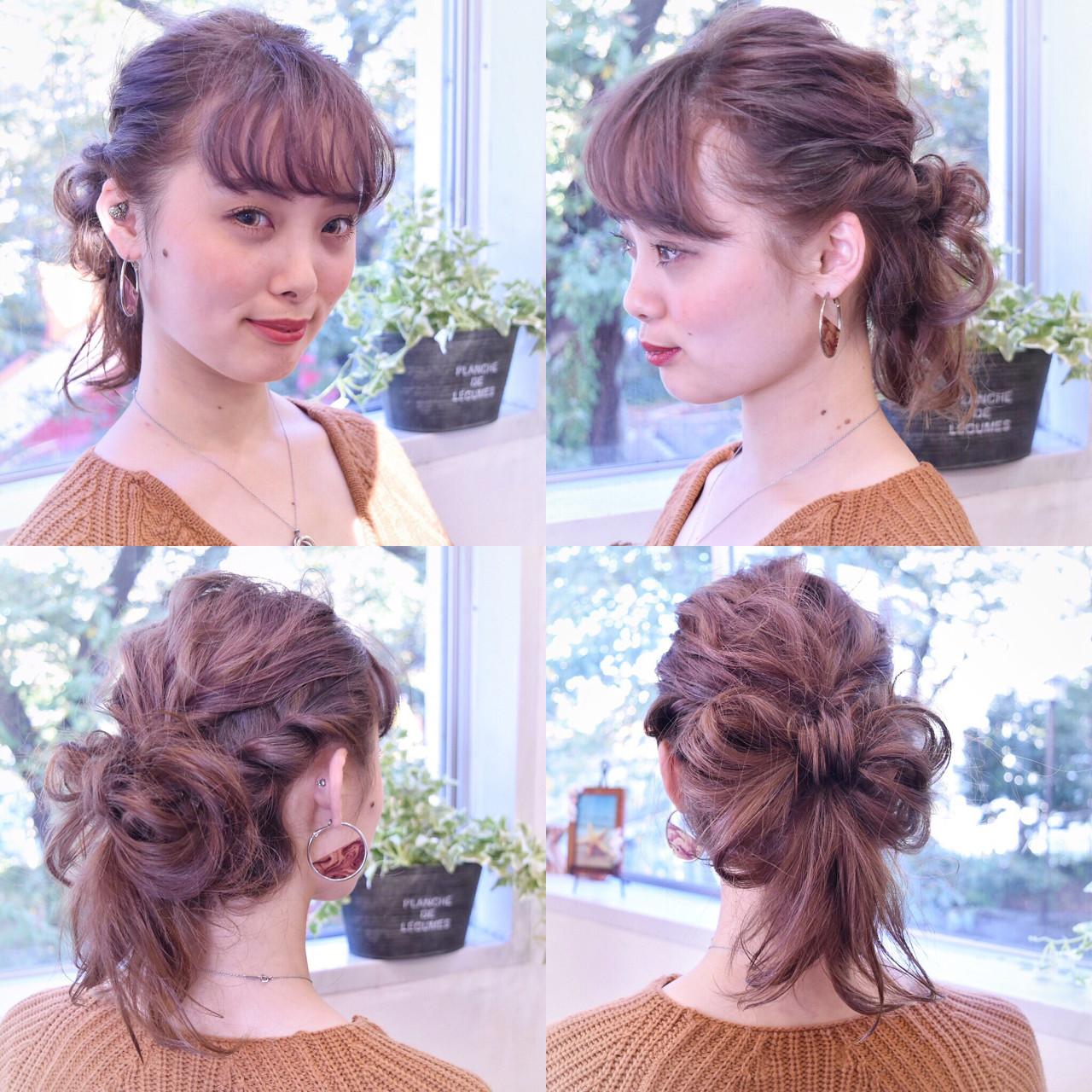 くるりんぱ ミディアム ヘアアレンジ 簡単ヘアアレンジ ヘアスタイルや髪型の写真・画像
