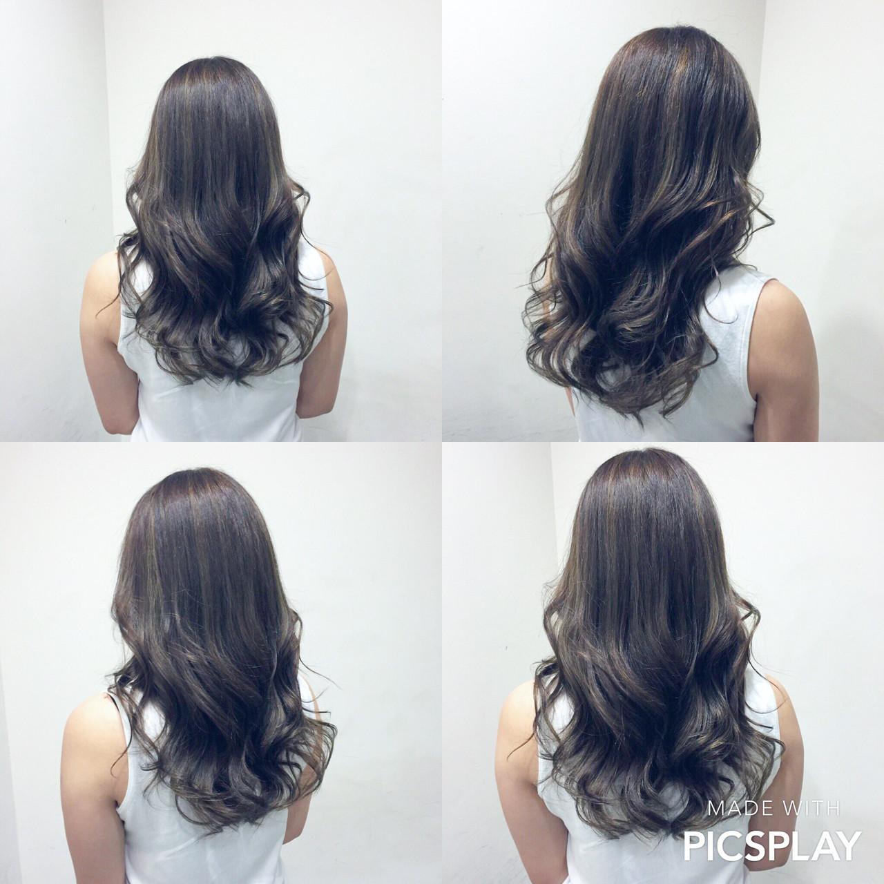 グラデーションカラー アッシュ セミロング ナチュラル ヘアスタイルや髪型の写真・画像