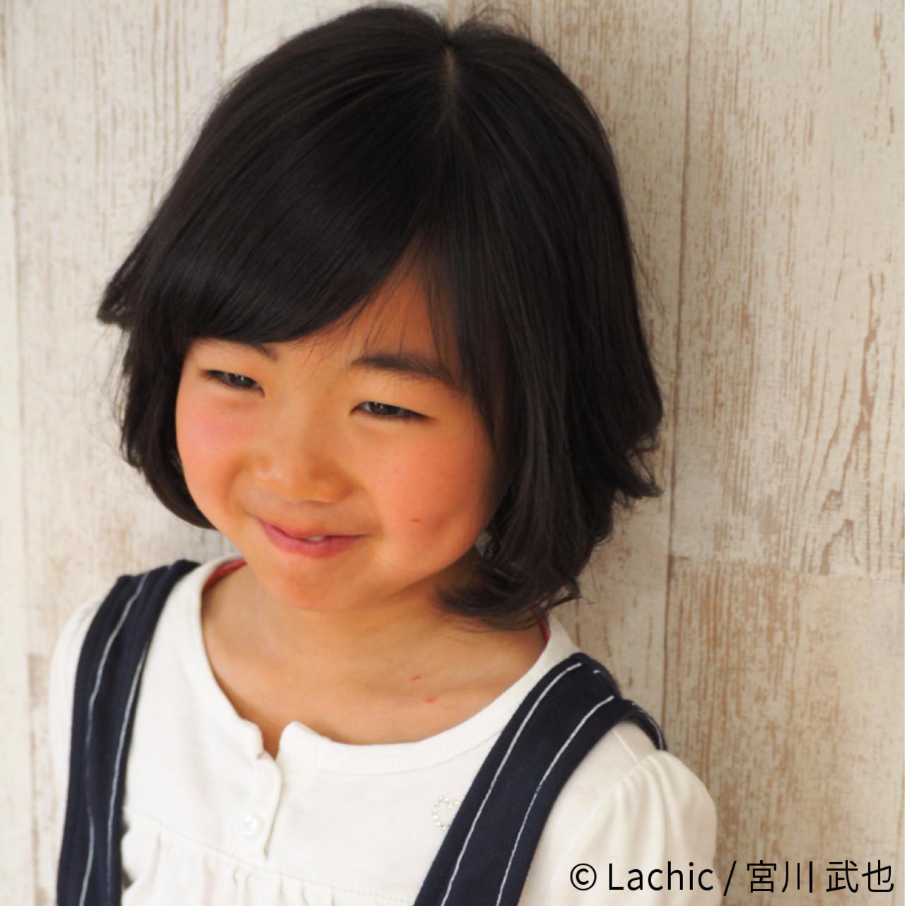 黒髪 ナチュラル ボブ 子供 ヘアスタイルや髪型の写真・画像