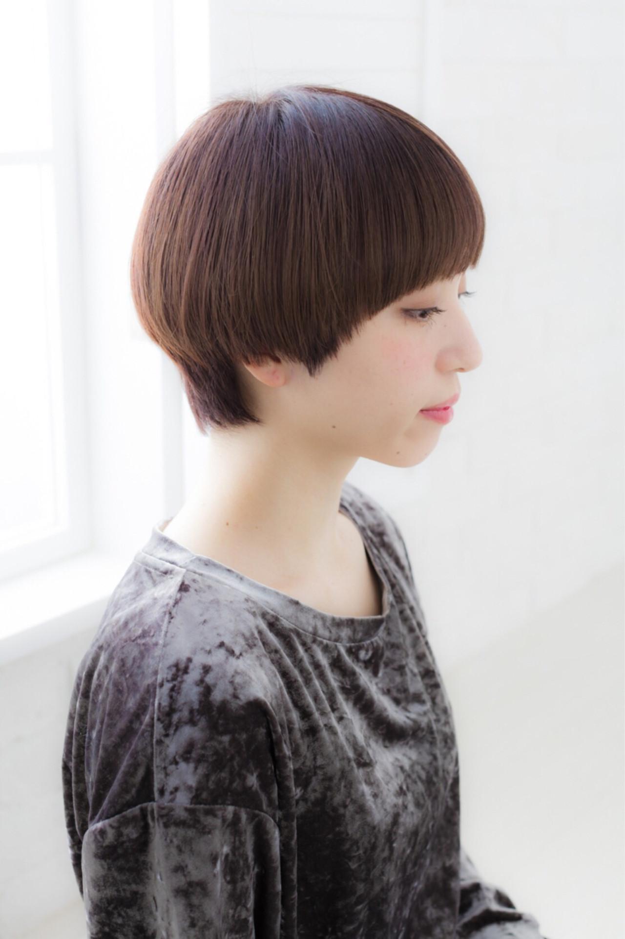 ナチュラル 似合わせ ブラウン ショート ヘアスタイルや髪型の写真・画像