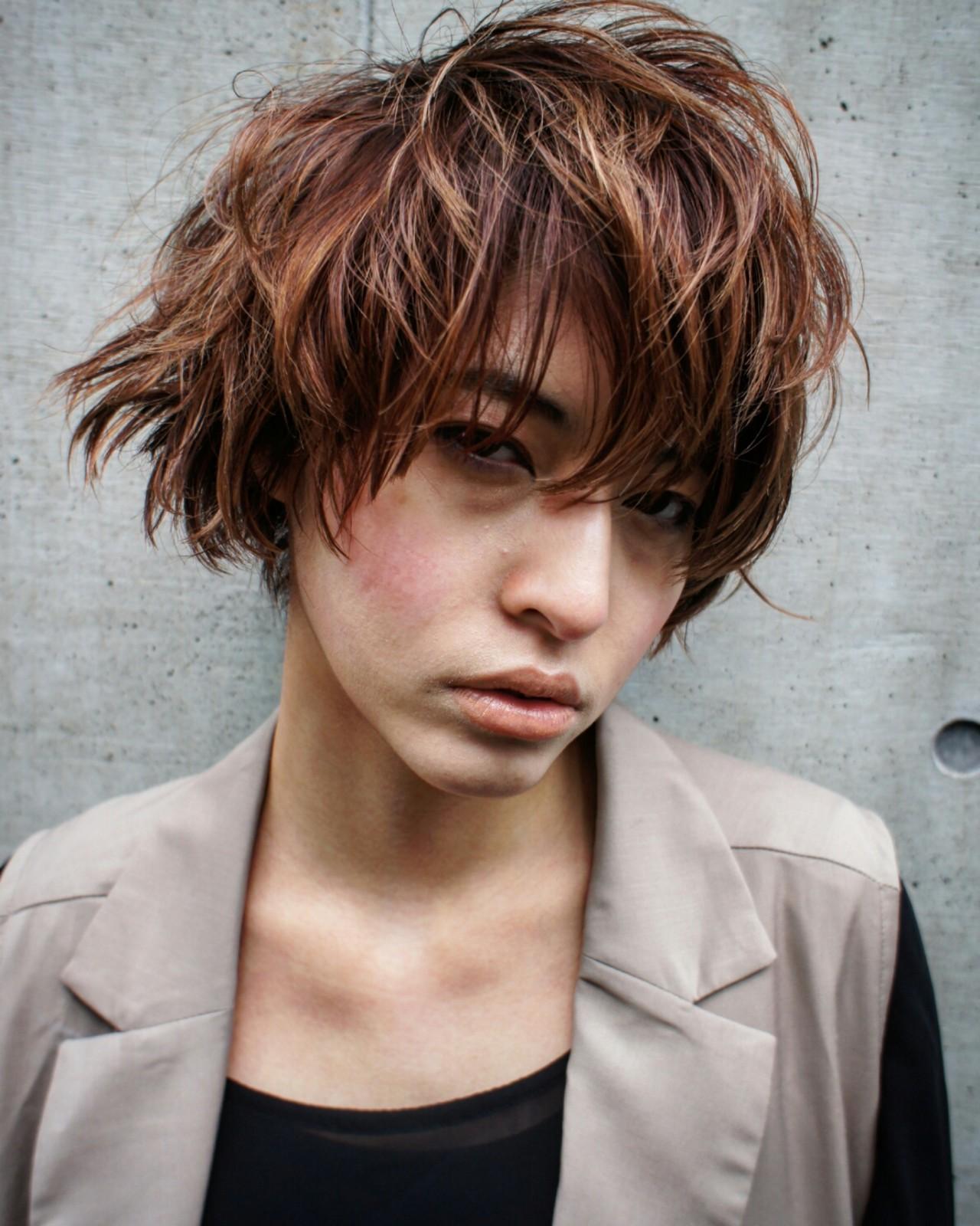 ショート ボブ パーマ ハイライト ヘアスタイルや髪型の写真・画像   WASHIZU@washi_hair / eyes