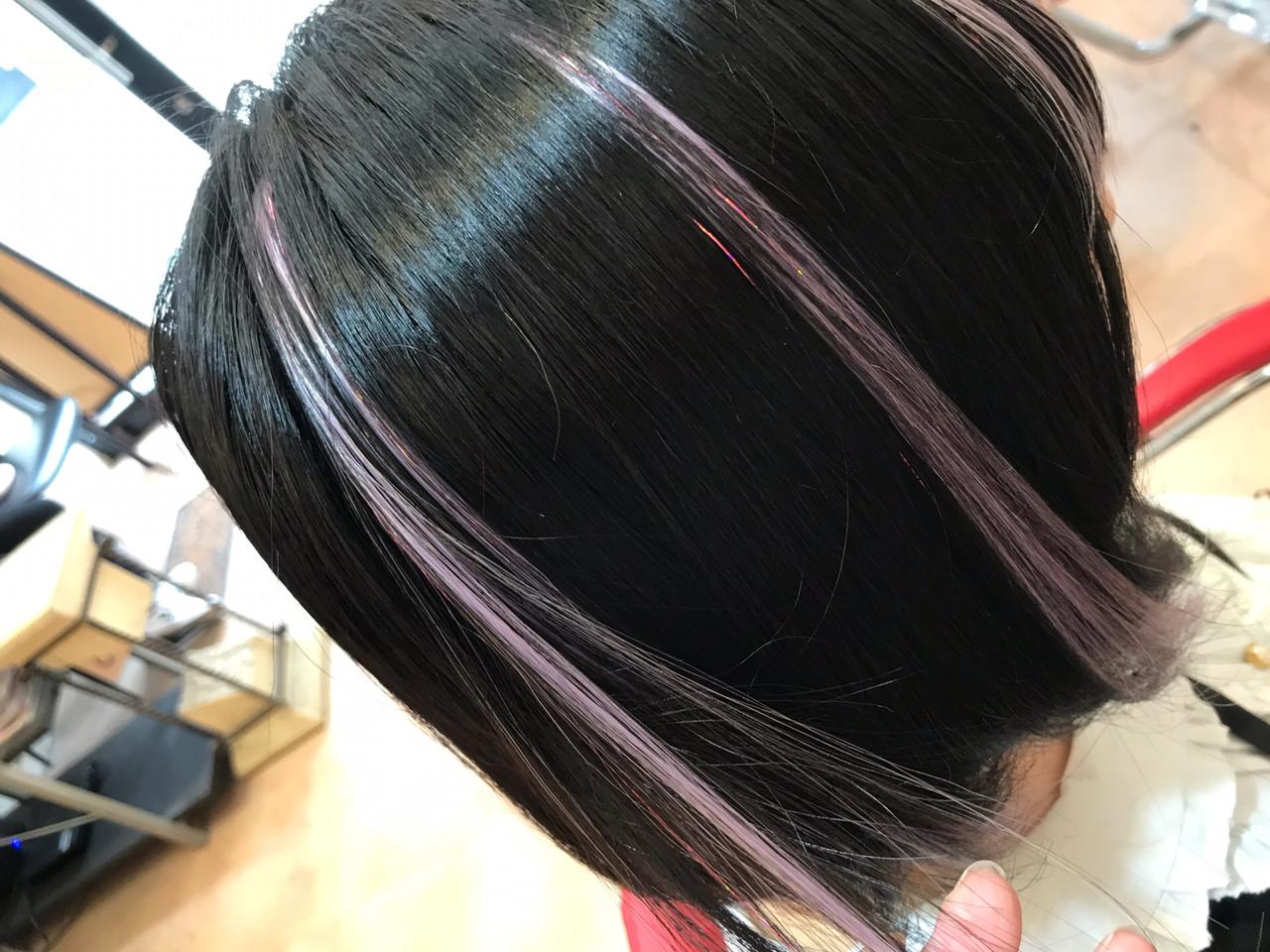 ナチュラル 韓国ヘア パープル ボブ ヘアスタイルや髪型の写真・画像