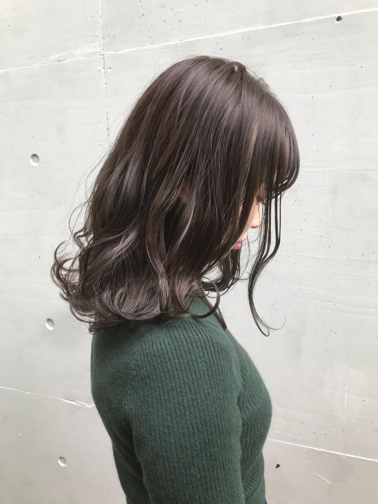 ラベンダーアッシュ セミロング ラベンダー ラベンダーグレージュ ヘアスタイルや髪型の写真・画像 | おかゆ / tete nico