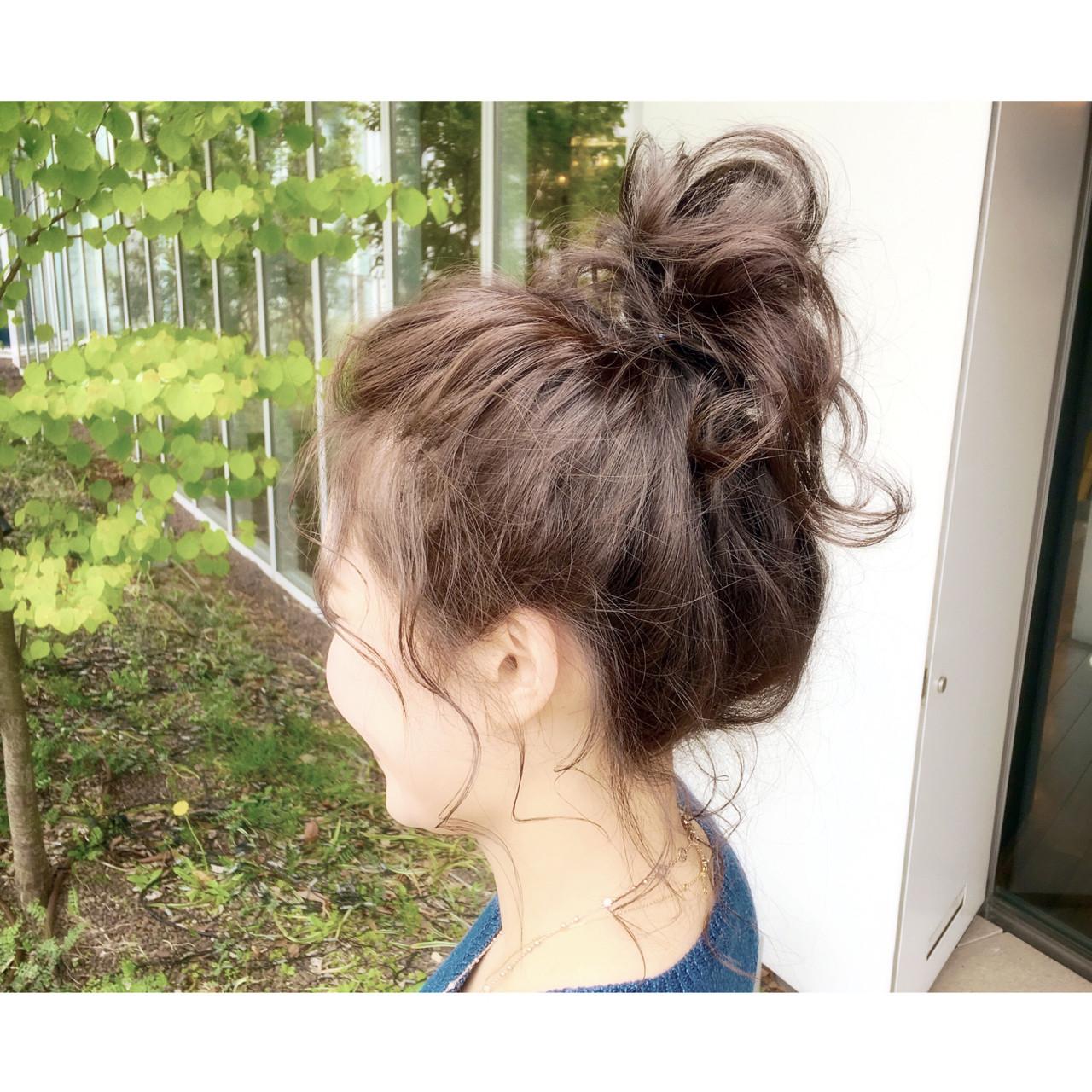 ショート ミディアム ヘアアレンジ ハイライト ヘアスタイルや髪型の写真・画像
