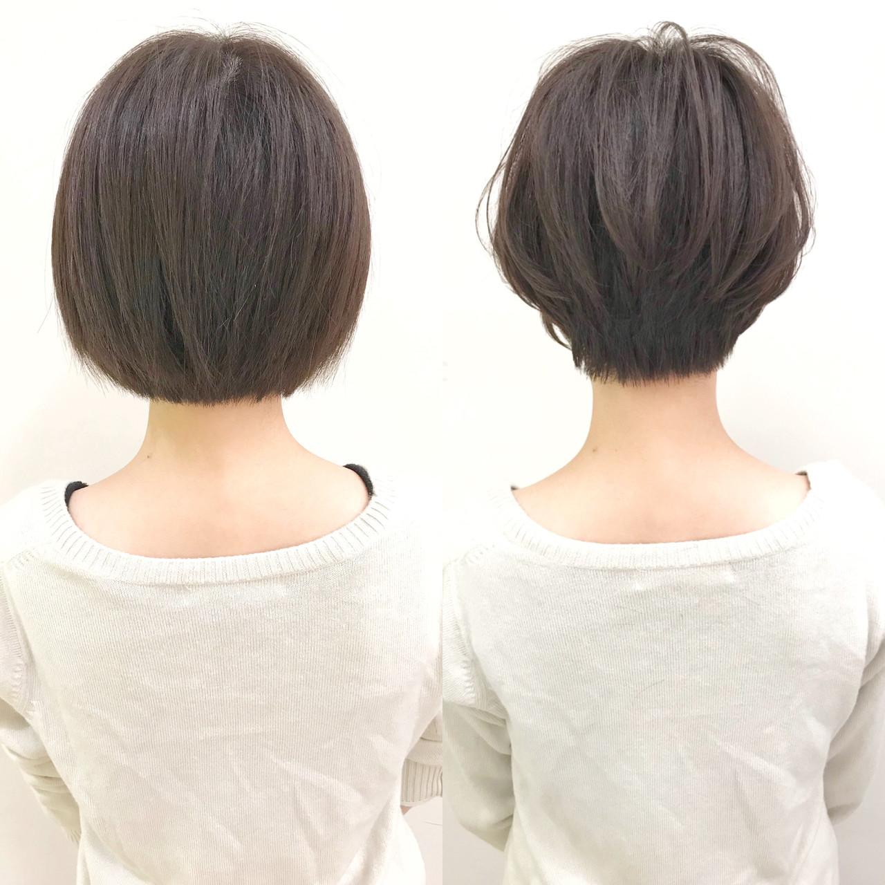 """『首を細く綺麗に見せる❗️前下がりショートヘア✂️』. . . . before(左) after(右) . 重たく硬く見えるワンレンボブスタイルを、スッキリ女性らしい柔らかいショートヘアにしました✨ . . . 『髪質・骨格』 . . 直毛多毛で全体的に重く見える状態でした? . . 特に下の方に重さが溜まっていて、野暮ったく見えます❗️ . . ' 『カット』 . . 女性らしいシルエットにする為に前下がりで丸みを出しました✂️ . . . 首元に余計な髪の毛がない事で首が細く綺麗に見えます? . . . これからの季節タートルネック等を着ても髪の毛が邪魔にならないです❗️ . . . 『スタイリング』 . 毛先をストレートアイロンで丸みをつけて、ボリュームUPワックスを髪の根元〜毛先に向かって揉み込めば完成? . . . 『まとめ』 . 直毛多毛でボブスタイルだと重たく野暮ったく見えやすい? . . そんな時は首元がスッキリ見える""""前下がりショートヘア""""がオススメです? . . . . ✅ショートヘアで失敗したくない. ✅スタイリングを簡単にしたい(まとまり良く、広がりにくい). ✅女性らしいショートヘアにしたい. ✅骨格をカバーしたい(絶壁、ハチ張り). ✅360度どこから見ても綺麗なシルエットが良い. ✅似合うショートヘアがわからない. ✅他のサロンでショートヘア失敗された. . 等という方は 『 #美容師ナカイヒロキ にお任せ下さい❗️』 . . . 『9割以上のお客様がショートヘア✂️』 . 僕の担当しているお客様の9割以上がショートヘア〜ボブスタイル? . . . 特に20〜30代の女性のお客様が多いです? . . . 初めてショートヘアにする方などは『絶対に失敗出来ないから!』と言って、わざわざ遠くから武蔵小杉まで来て頂く事も多いです? . . . 最近はインスタを、見てご来店される方がとても増えてます❗️ . . . そんな状況を本当に嬉しく思っていて、期待に応えられる様に1人ひとりと真剣に向き合ってカットしてます✂️ . . . 僕の作ったショートヘアはこちらをご覧下さい 【 #中井ショート 】 . . . . 【美容師歴7年】. . 同世代では1番早い、1年8ヶ月でスタイリストデビュー後、ショートヘアに特化してきました✂️ . . . ショートヘアに拘りを持ち続けた結果、新規指名数&ショートヘアのオーダー率は全店No.1❗️ . . . 360度どこから見ても、丸みのある綺麗なショートヘアが得意です✨ . . . ショートヘアは正面だけではなく、サイドや後ろ姿も大切だと思います❗️ . . . . 『✂️実績✂️』 . 『TOKYO BEAUTY CONGRESS 2015』 審査員賞. 『TOKYO BEAUTY CONGRESS 2015』 ジャーナル賞. 『TOKYO BEAUTY CONGRESS 2016』準グランプリ. 『TOKYO BEAUTY CONGRESS 2016』 審査員賞. 『HAIR COLOR LIVE CONTEST 2017』 優秀賞. 『 hoyu×ar カラコレ'16 ar賞』. 『 hoyu×ar カラコレ'17 いいね賞』 . その他、社内外で多数受賞❗️ . . . . 『✨お客様の声✨』 . •いつもヘアスタイル参考にさせていただいてます!この前は少し凹むことがあり美容室行ったのですが、髪を切ったらすっごく元気が出ました^_^ 中井さんに切ってもらって本当に良かった!とお会いした際にお礼を言えば良かったなと思い、突然すみません! 今度はショートにしたいなーと。またよろしくお願いします!(20代女性) . . . •今回はありがとうございました! 心機一転、そしてイメチェンすることができました! そしてまとまりやすく、朝のセットも楽チンです^ ^ また伸びて来た頃に伺います! ありがとうございました。(20代女性) . . . . . 『✨ご予約方法はこちら✨』. . 『?WEB予約の場合?』. プロフィールのURLから24時間好きな時にWEB予約が出来ます?. . ホットペッパー等には掲載していないので、WEB予約は公式HPからのみ可能です? . . . 『☎️電話予約の場合☎️』. プロフィール欄の""""電話する""""ボタンを押して頂くか、☎︎044-863-9808までお願い致します✨ . 予約専門のレセプションがご対応させて頂きます?♀️ ※WEB予約が埋まっている場合でも、電話をして頂ければ予約が取れる事があります。 . . . カット6600円. . カラー(一色染め)9100円〜. . カラー(ハイライト)6100円〜. ※カラーはヘアカラー専門のカラー"""