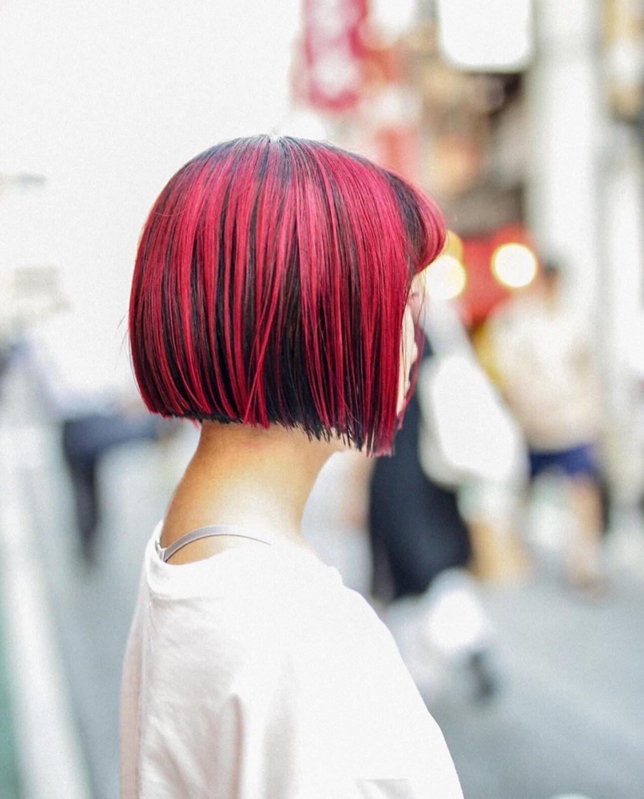 ブリーチ必須 ガーリー ボブ ブリーチオンカラー ヘアスタイルや髪型の写真・画像