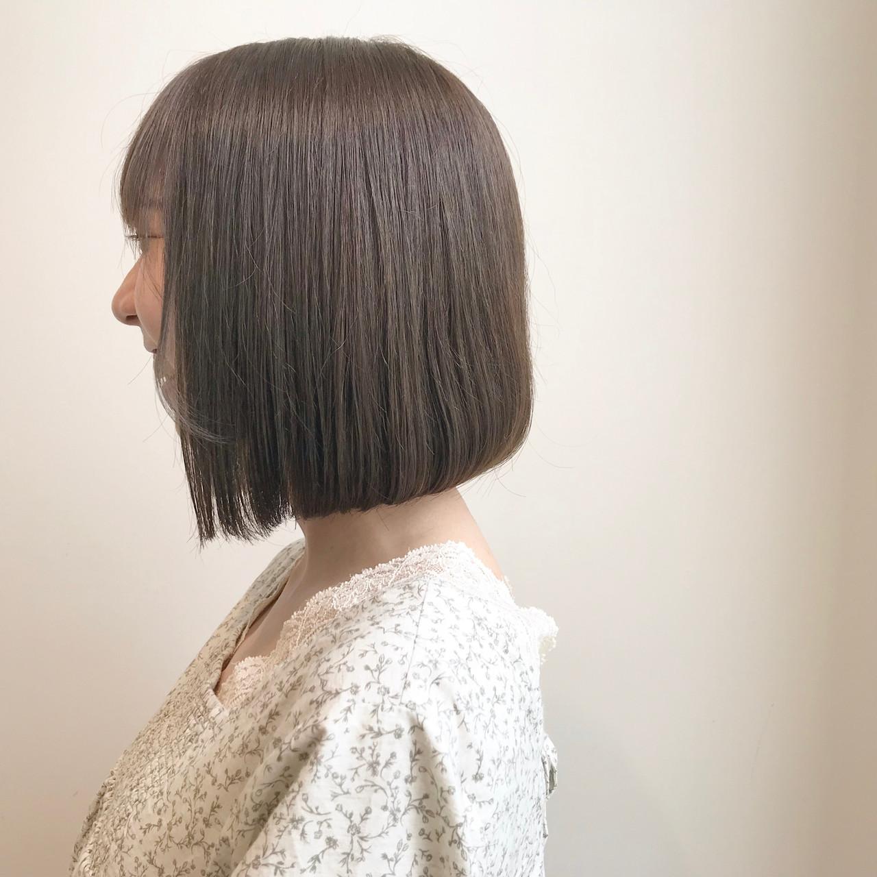 ミニボブ ミルクティーグレージュ 透明感カラー ボブ ヘアスタイルや髪型の写真・画像 | 村西 郁人 / rue