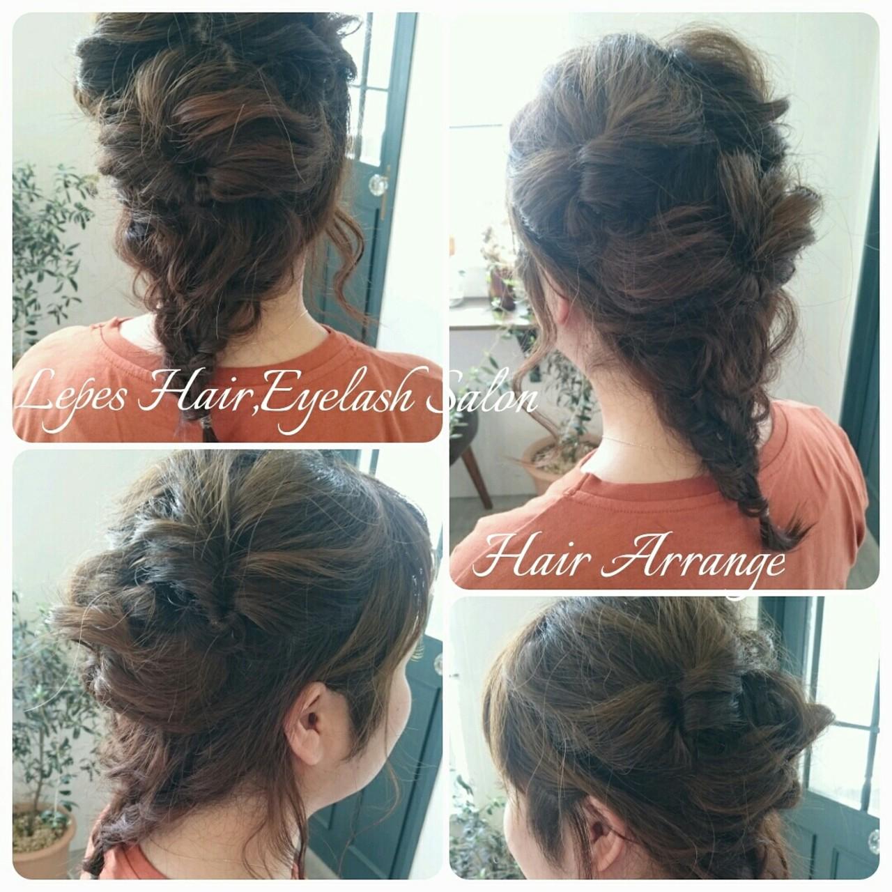 くるりんぱ 簡単ヘアアレンジ ミディアム ヘアアレンジ ヘアスタイルや髪型の写真・画像