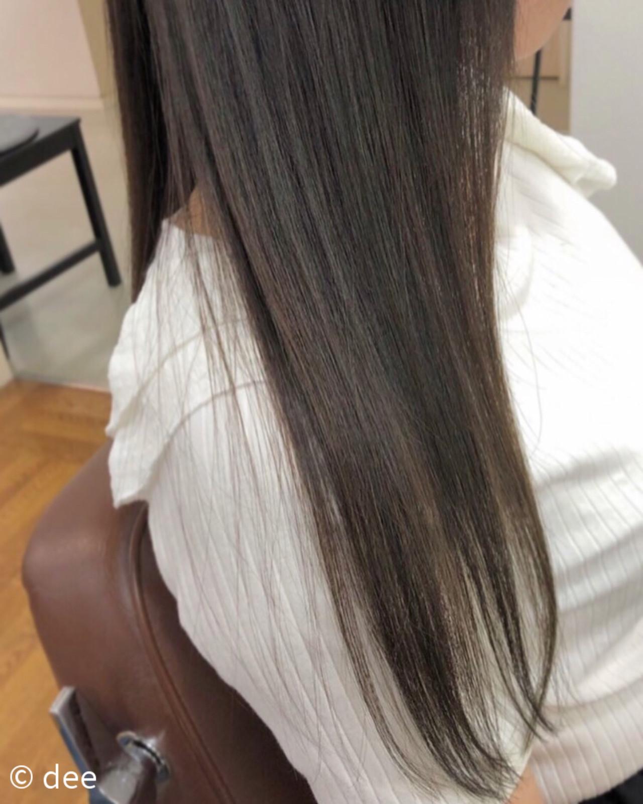 ナチュラル グレージュ 縮毛矯正ストカール ストレート ヘアスタイルや髪型の写真・画像